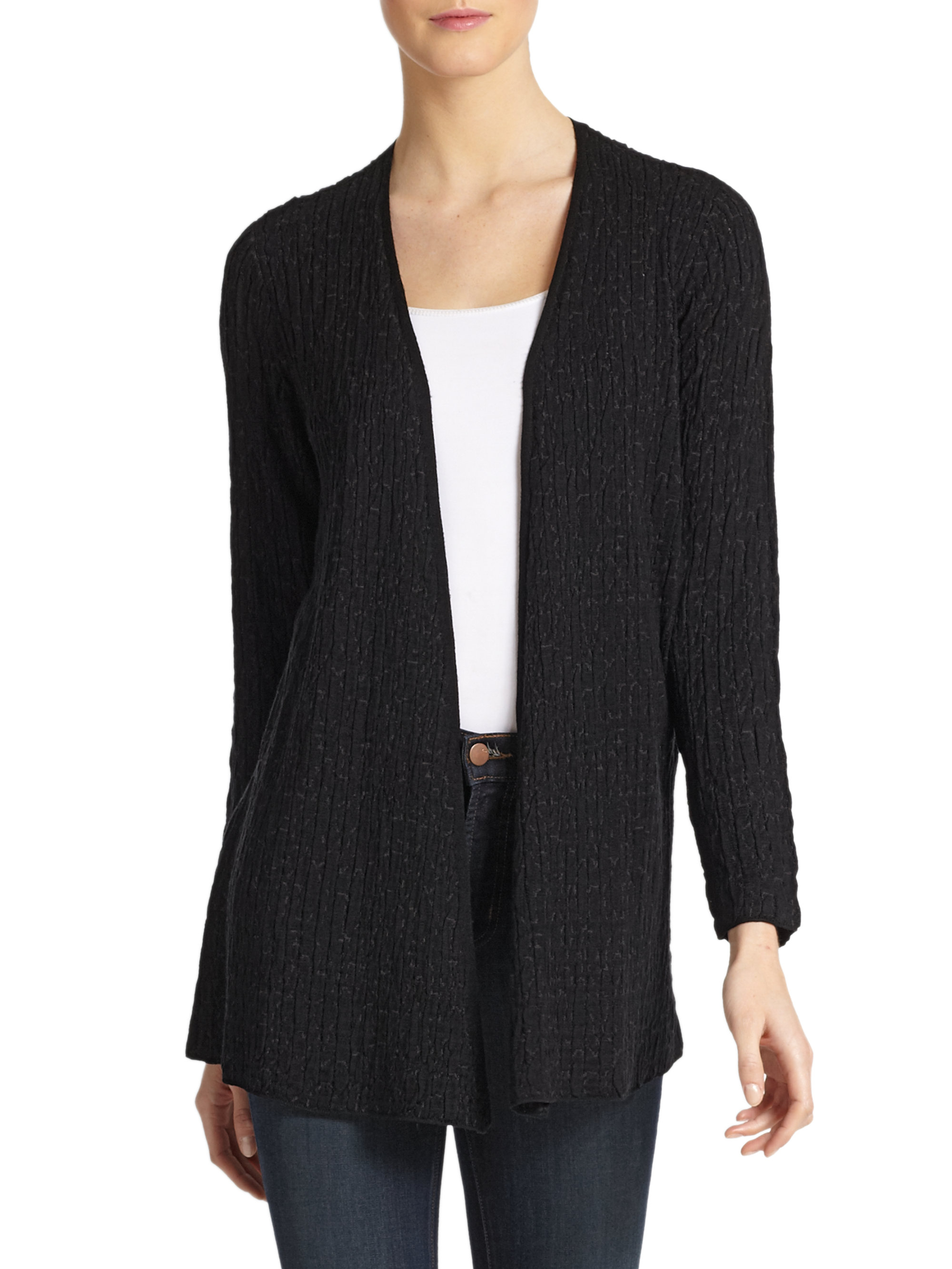 Eileen fisher Ribbed Open Long Cardigan in Black | Lyst