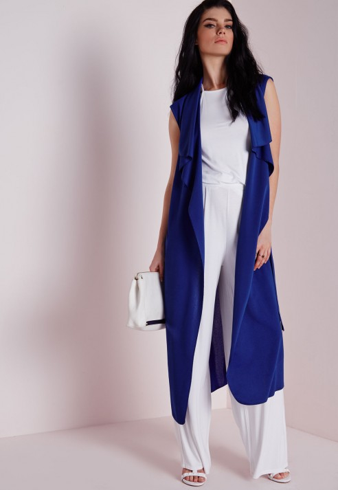 fa5d0686da4c1a Lyst - Missguided Sleeveless Belted Waterfall Duster Coat Cobalt Blue in  Blue
