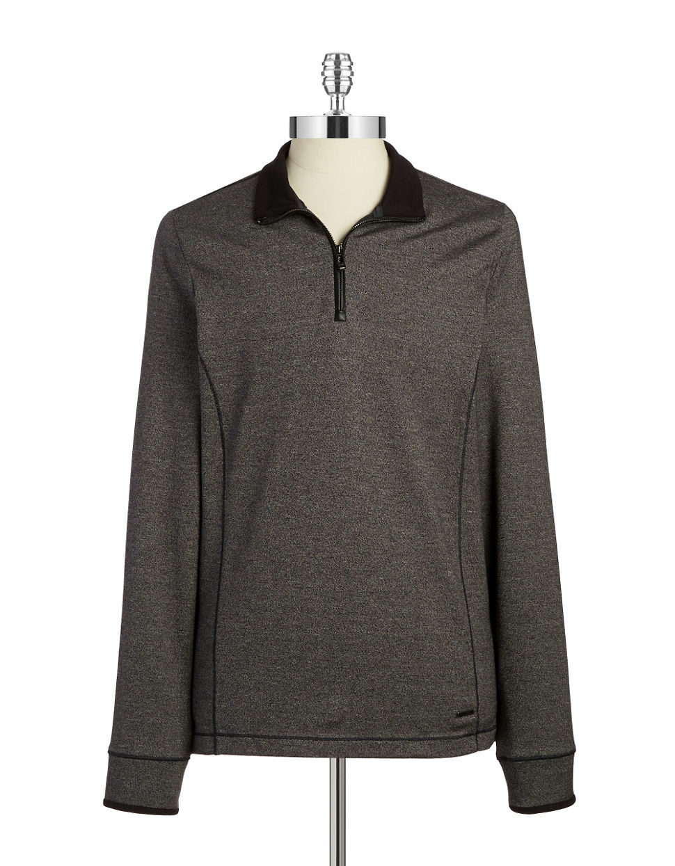 calvin klein quarter zip pullover in gray for men medium grey heather lyst. Black Bedroom Furniture Sets. Home Design Ideas