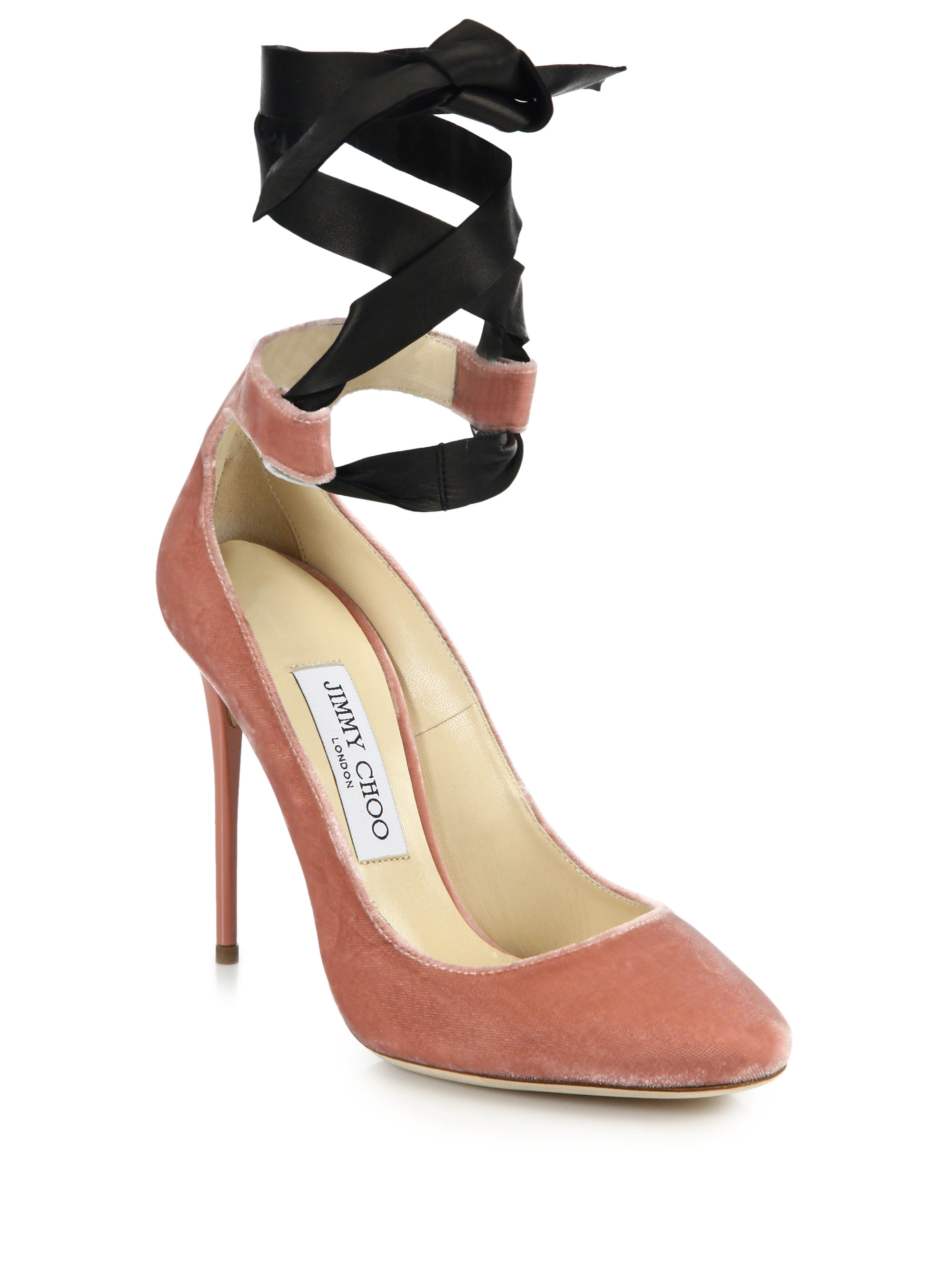 ee660eb11fdc83 ... germany lyst jimmy choo rosana velvet leather ankle tie pumps in pink  e7bcb 2f6ec