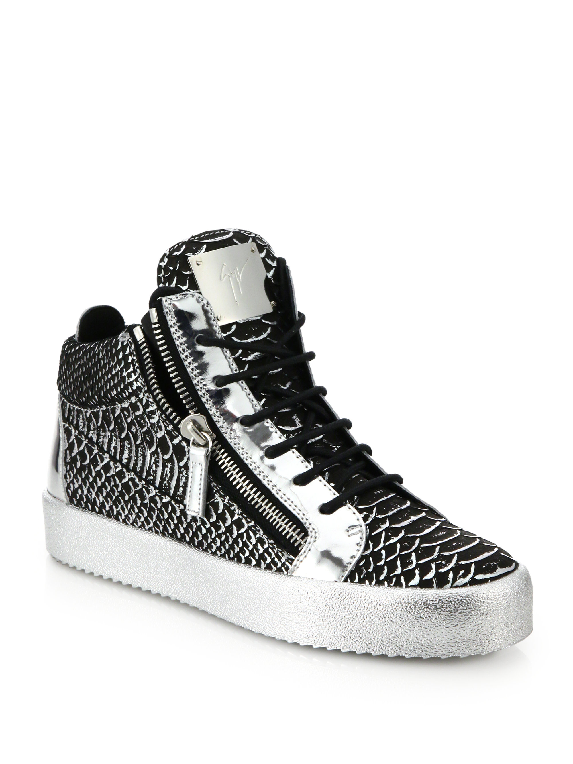 ed6684a2ac0fcc Lyst - Giuseppe Zanotti Embossed Leather Double-zip Sneakers in ...