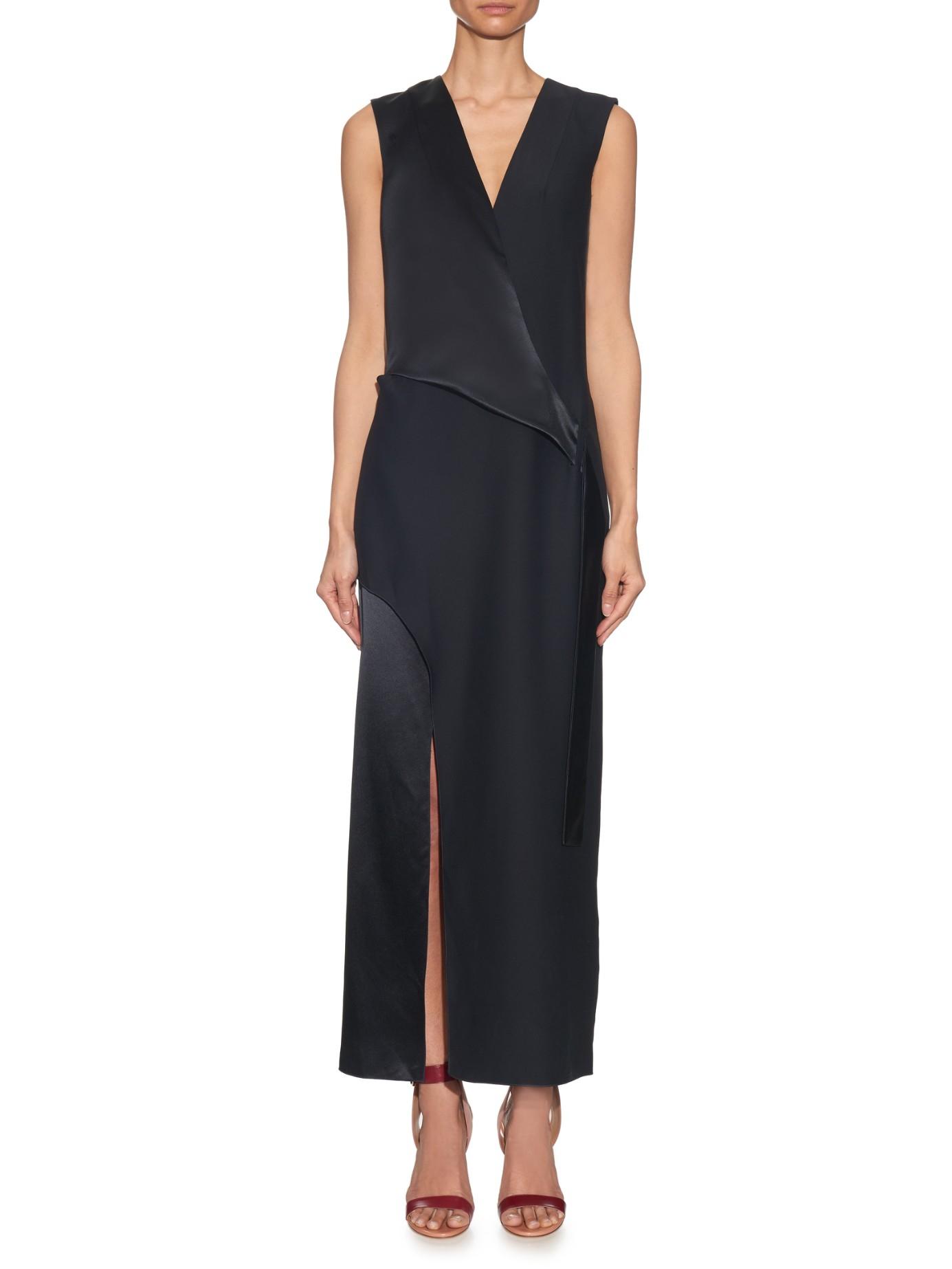Dion lee V-neck Silk-satin Sleeveless Dress in Blue