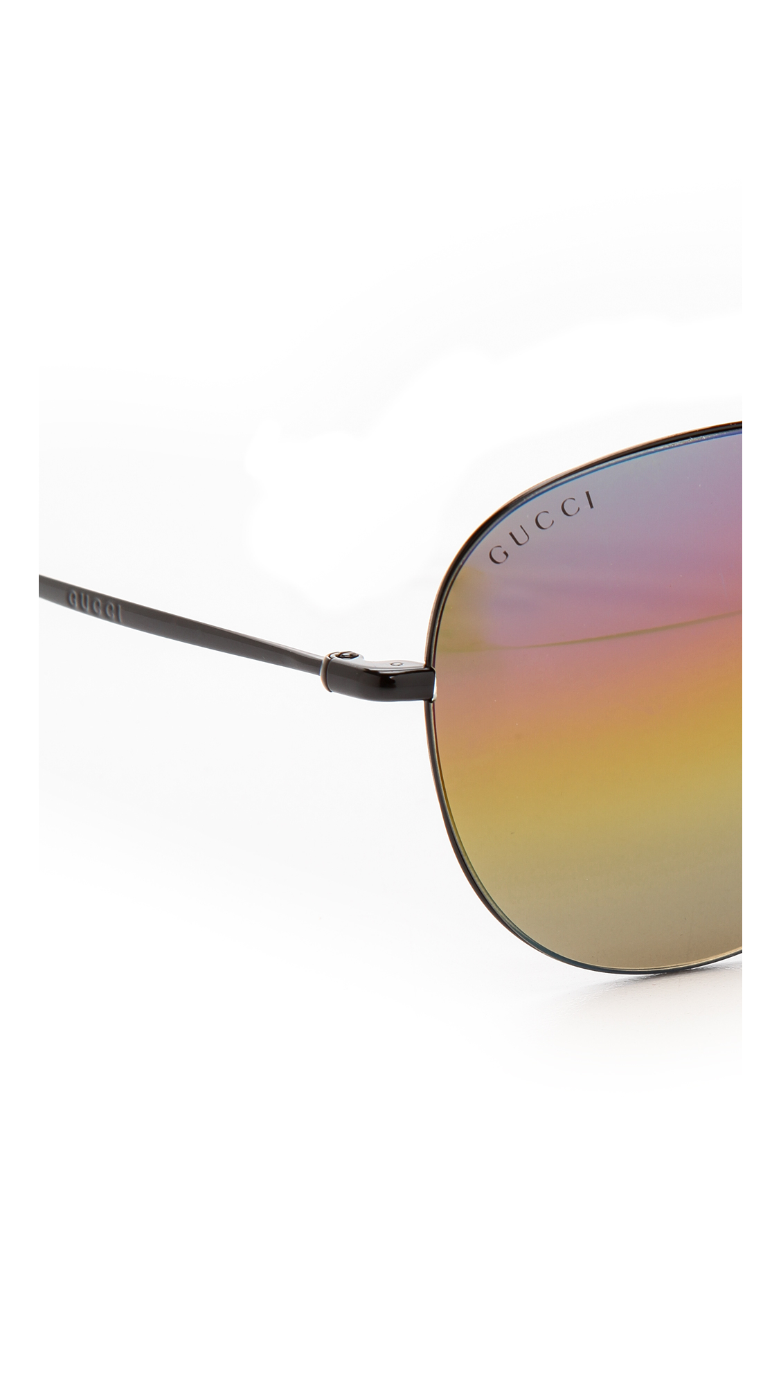 8c7ff182a88 Lyst - Gucci Rainbow Mirrored Aviator Sunglasses - Shiny Black rainbow