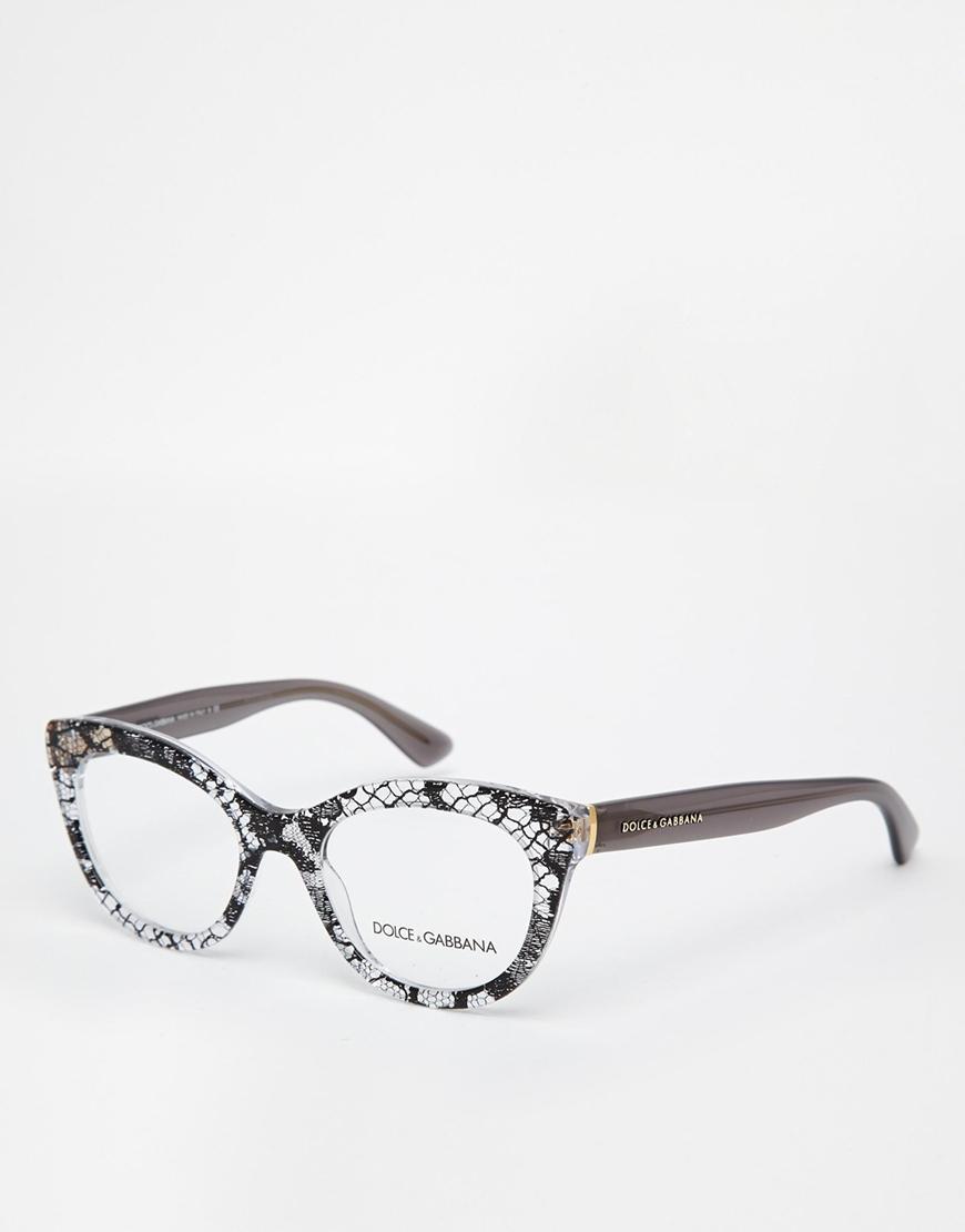 e03d0f6d42 Lyst - Dolce   Gabbana Patterned Cat-Eye Glasses in Black