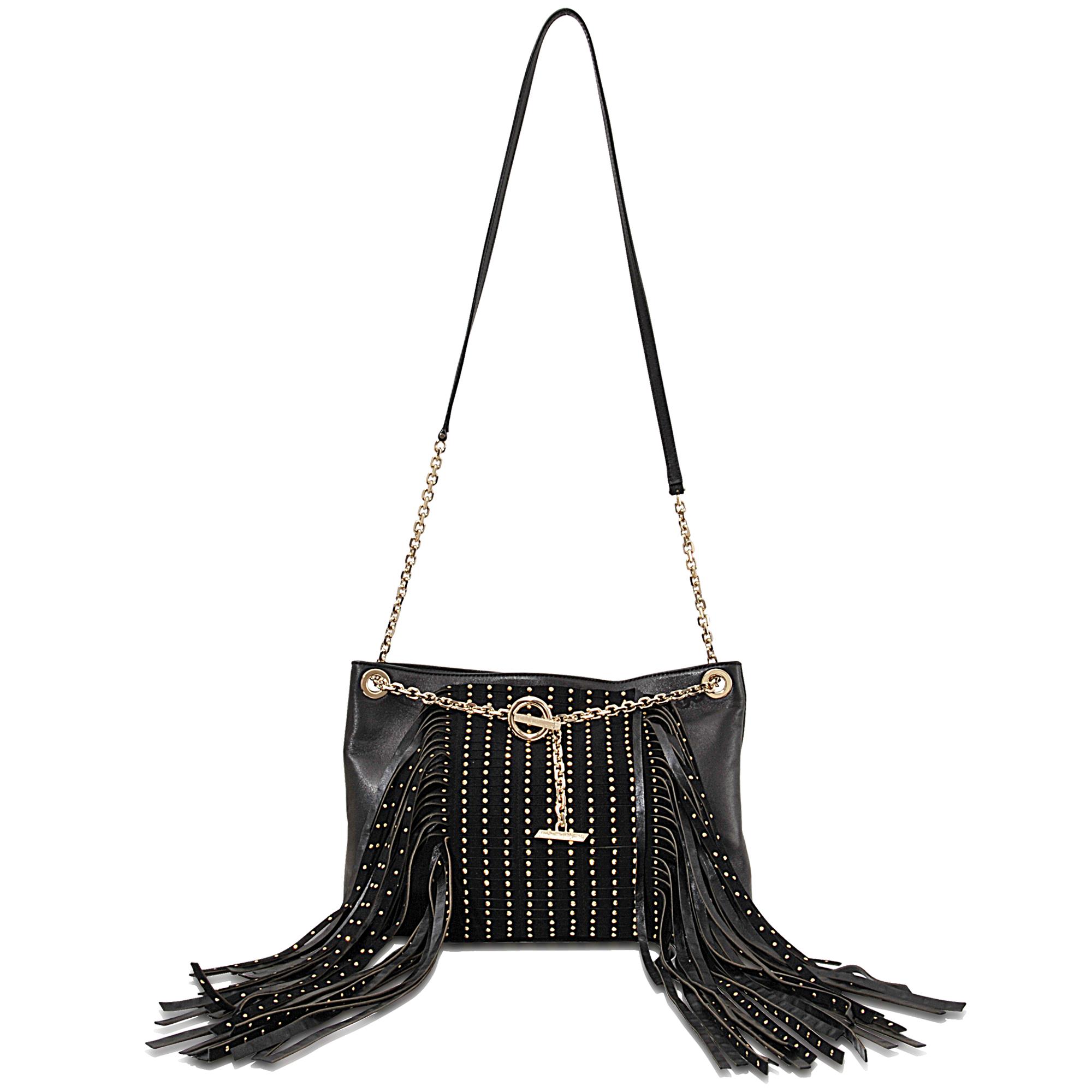 ba2d3ffd63 Jimmy Choo Alexia Studded Fringe Leather Shoulder Bag in Black - Lyst