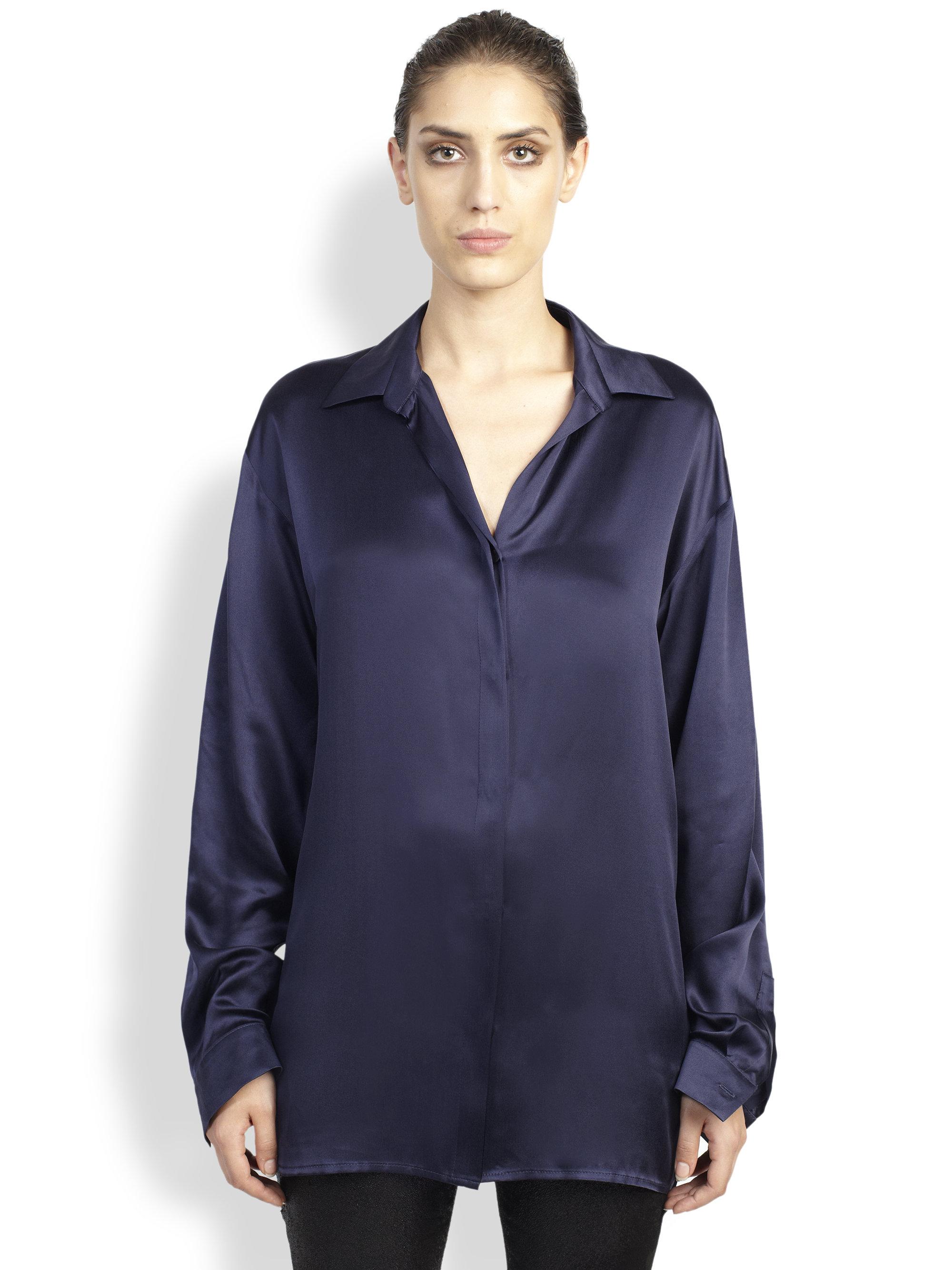 Lyst Haider Ackermann Dali Long Silk Shirt In Blue