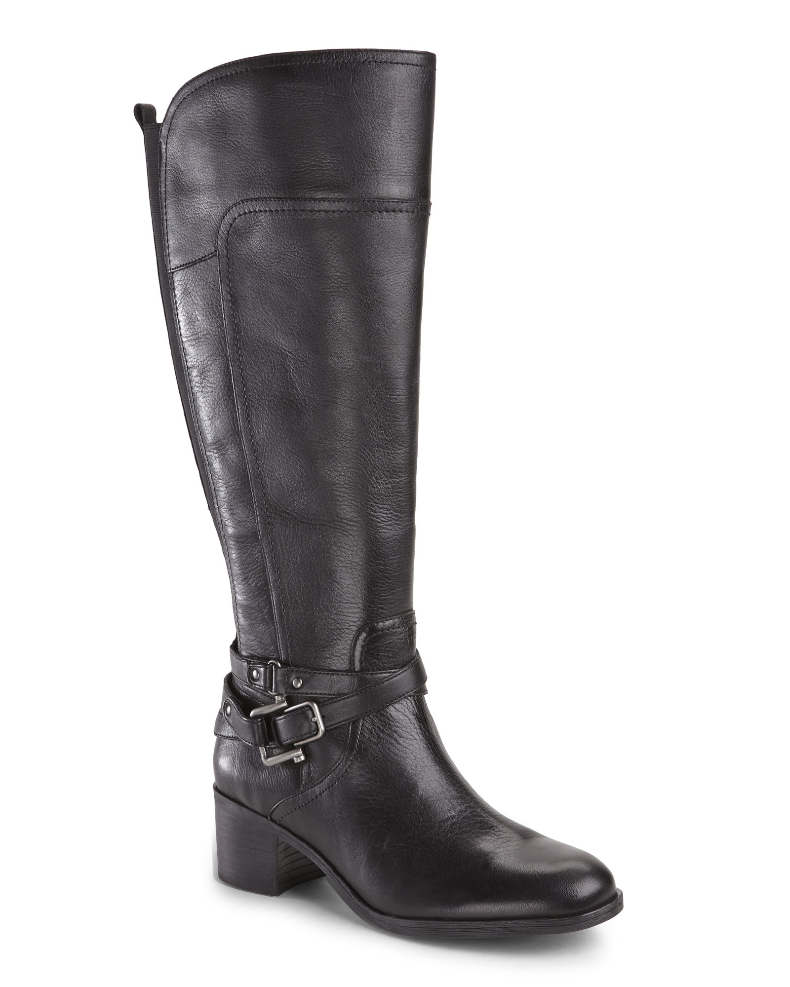 Marc fisher Black Kacee Wide Calf Riding Boots in Black | Lyst