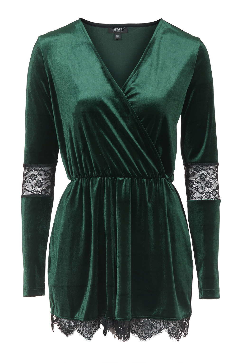 65861c4a486 TOPSHOP Velvet Lace Playsuit in Green - Lyst