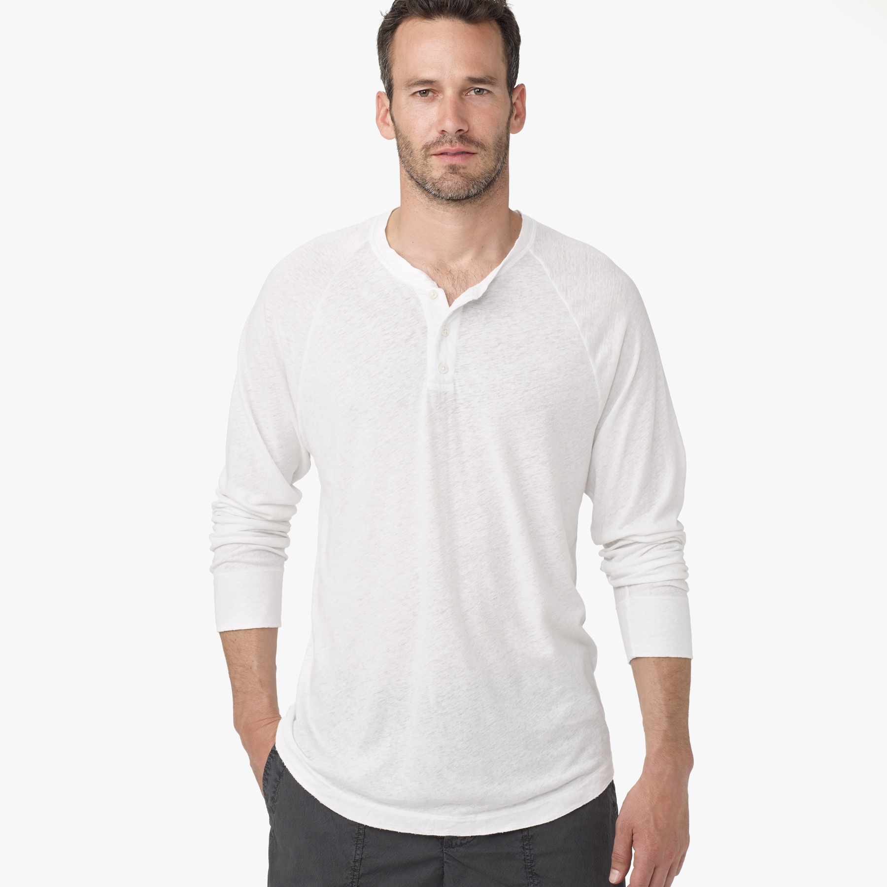 James perse linen cotton raglan henley in white for men lyst for James perse henley shirt