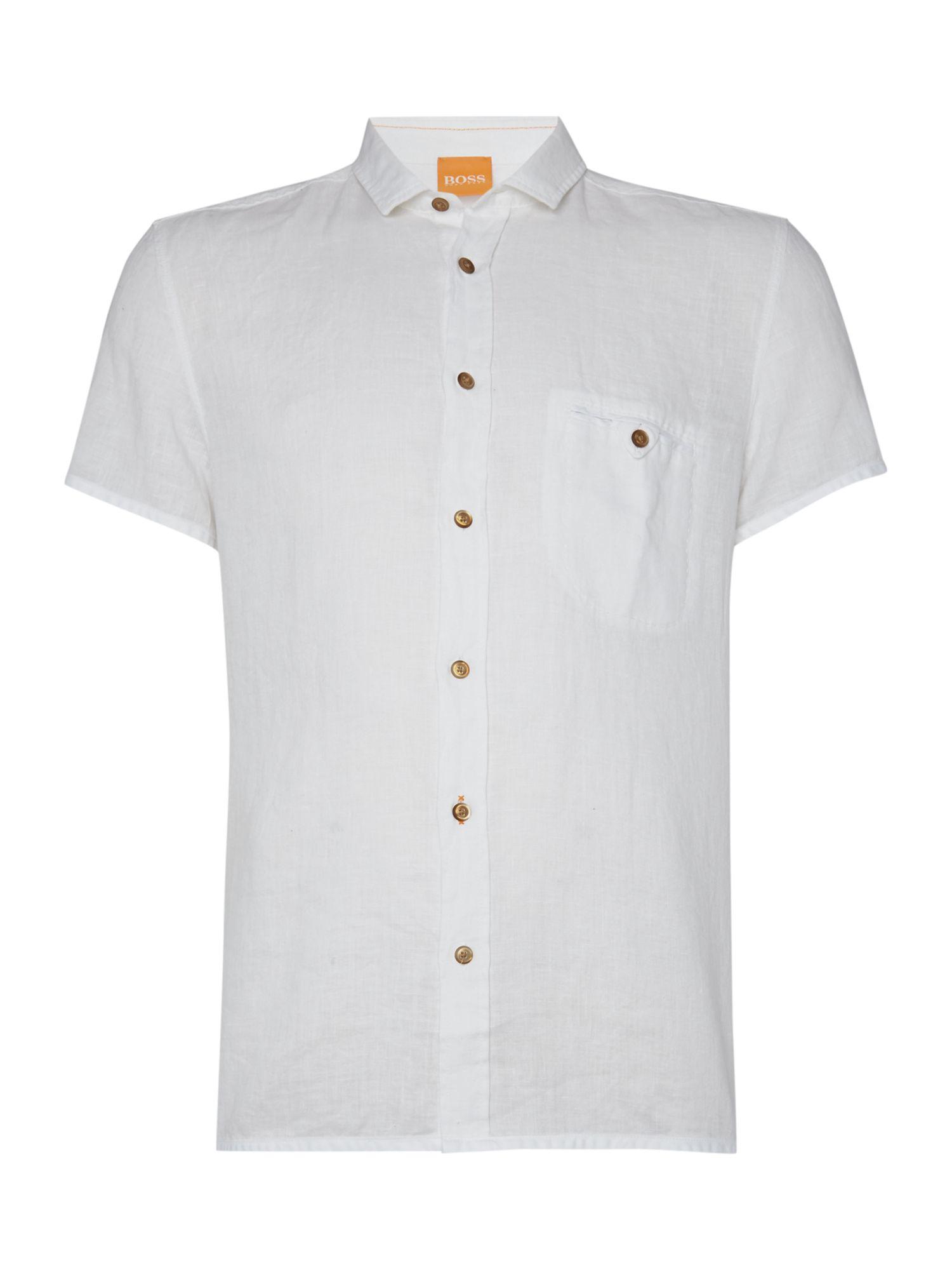 Boss esushie classic fit linen short sleeve shirt in white for Short sleeve linen shirt