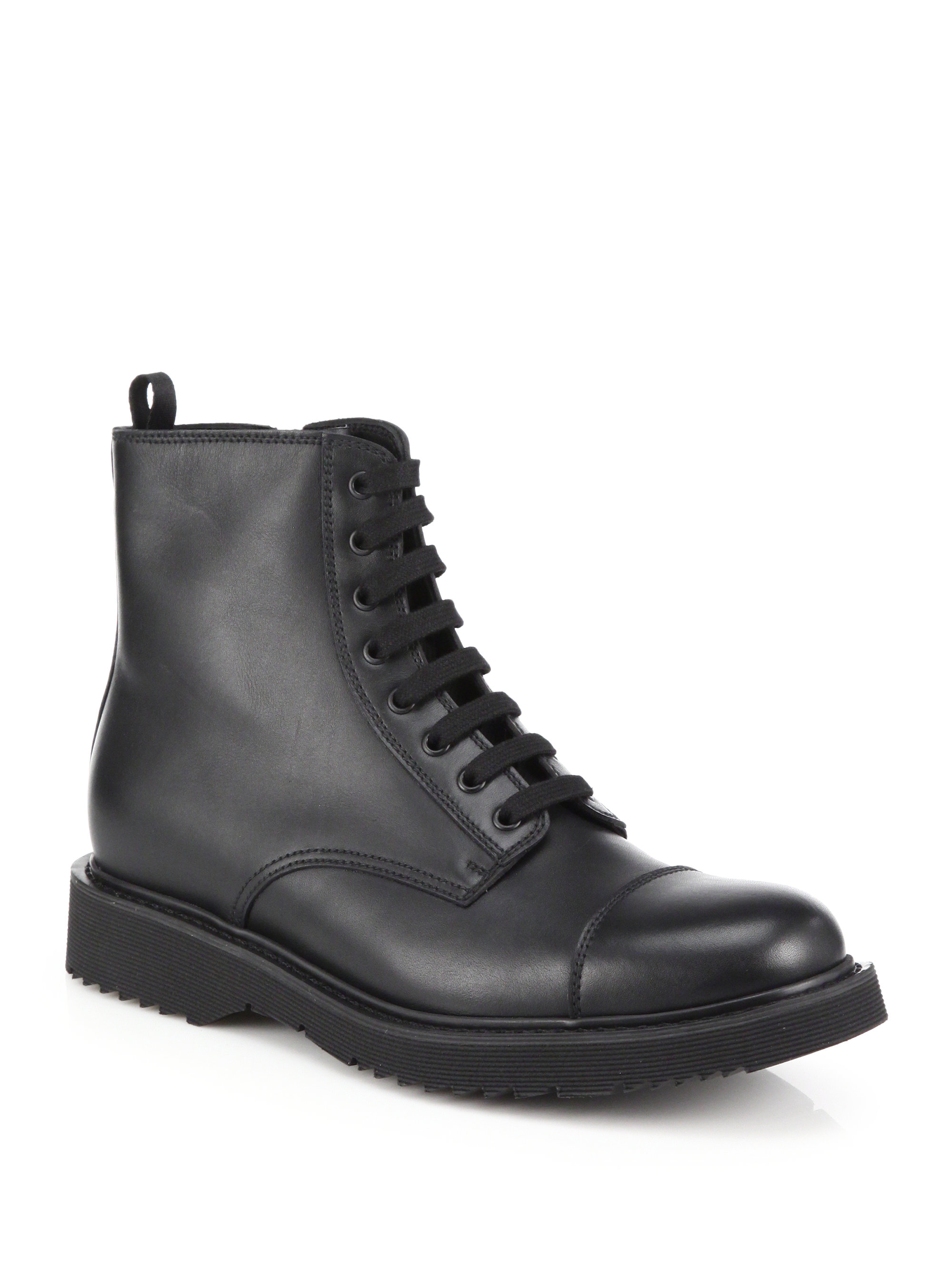 Prada Leather Lace-up Boots in Black for Men | Lyst