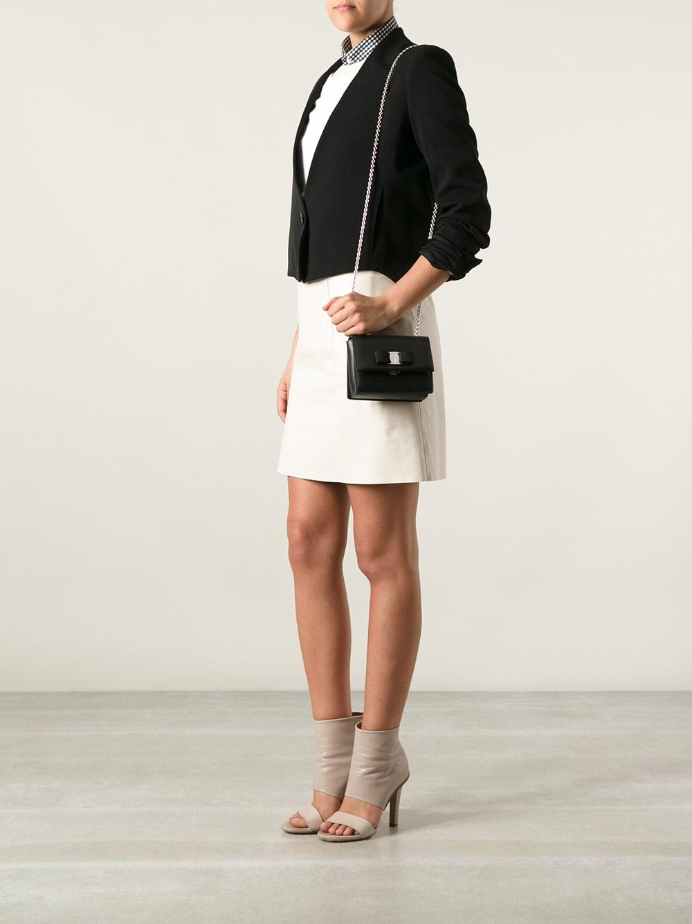 a37371c9f8f9 Lyst Ferragamo Ginny Shoulder Bag In Black