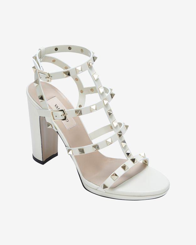 Valentino Rockstud Chunky Heel Gladiotor Sandal Ivory in White | Lyst