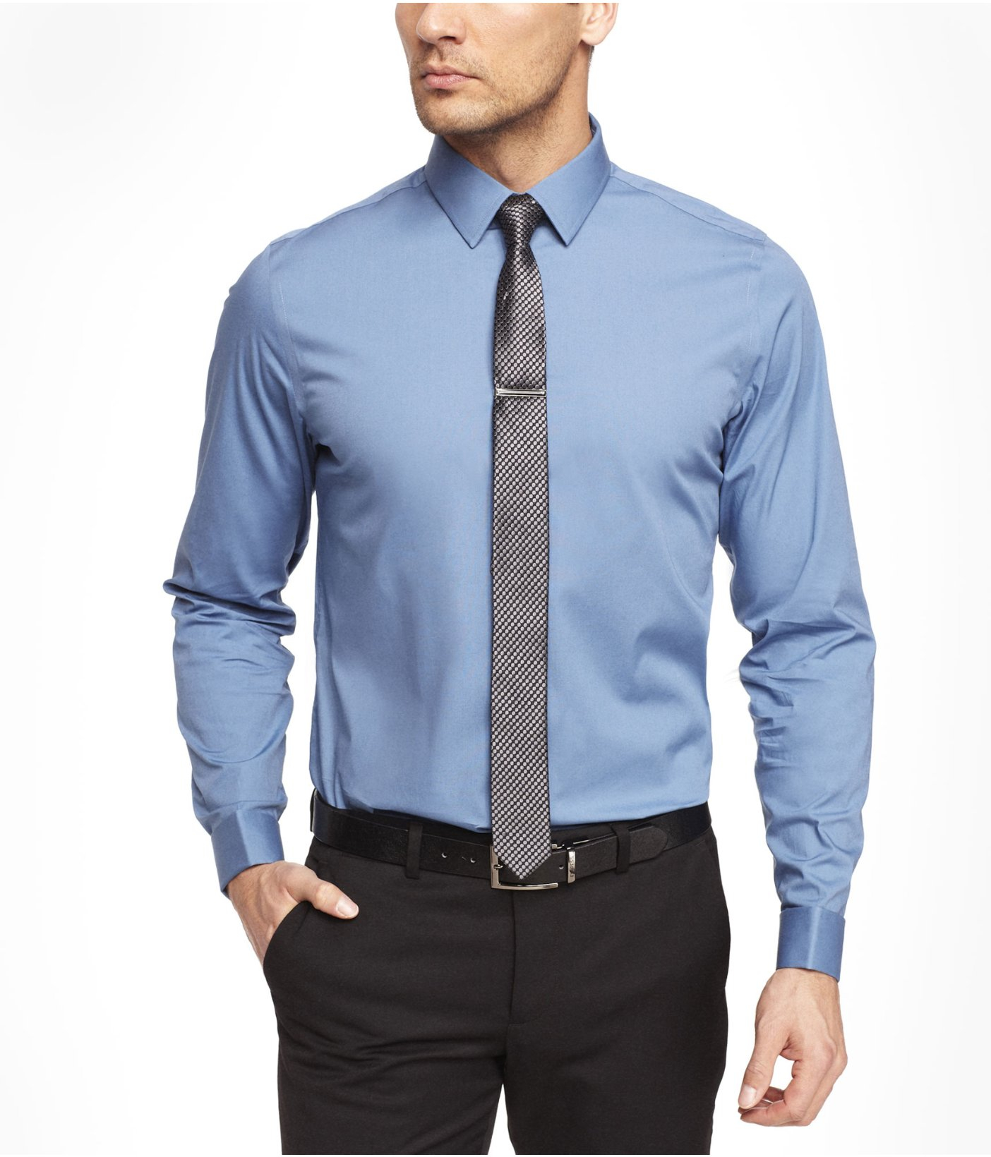 Express Blue Modern Fit 1mx French Cuff Shirt For Men Lyst