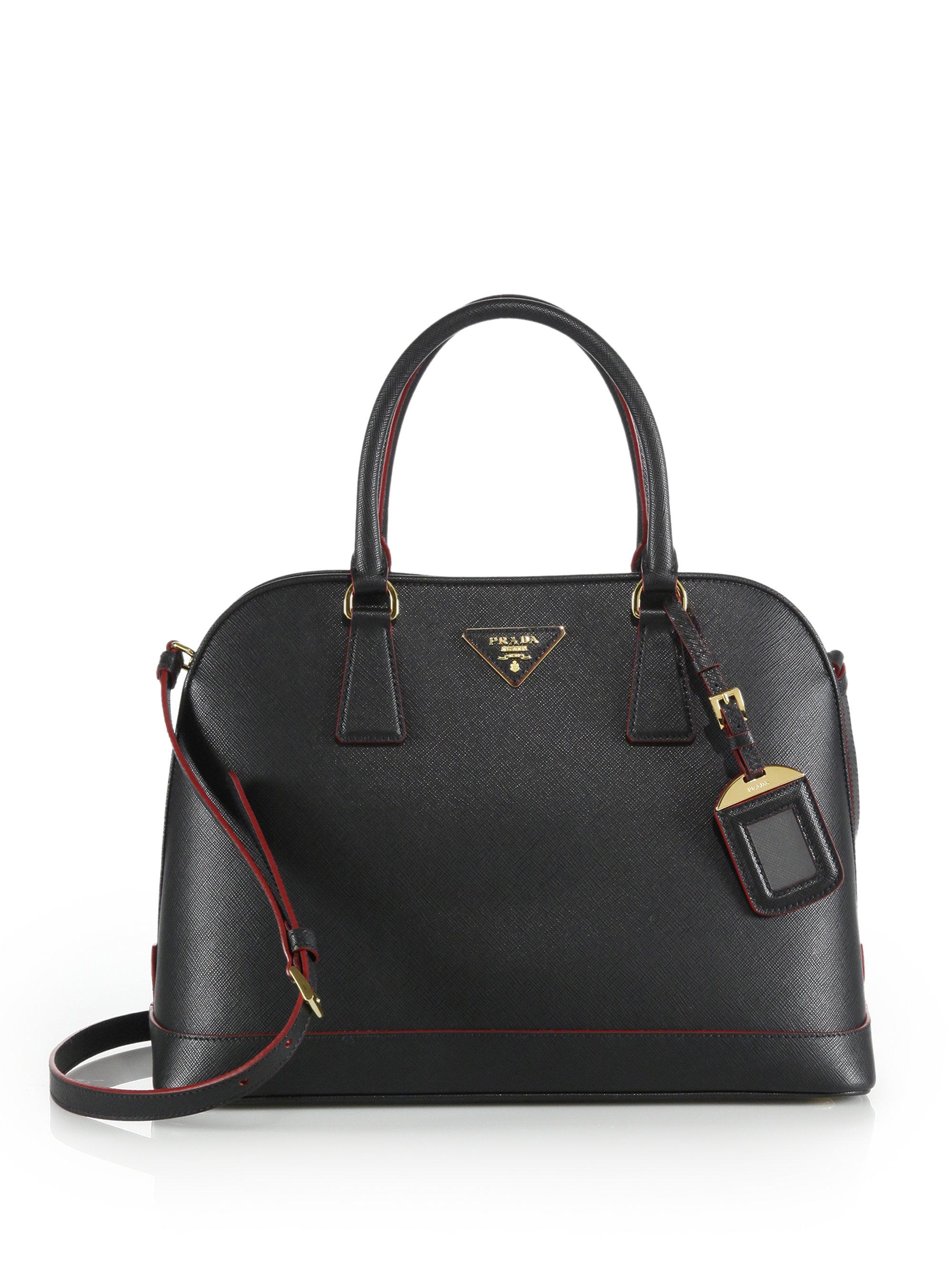 d0afac81b624 Lyst - Prada Saffiano Lux Promenade Leather Satchel in Black
