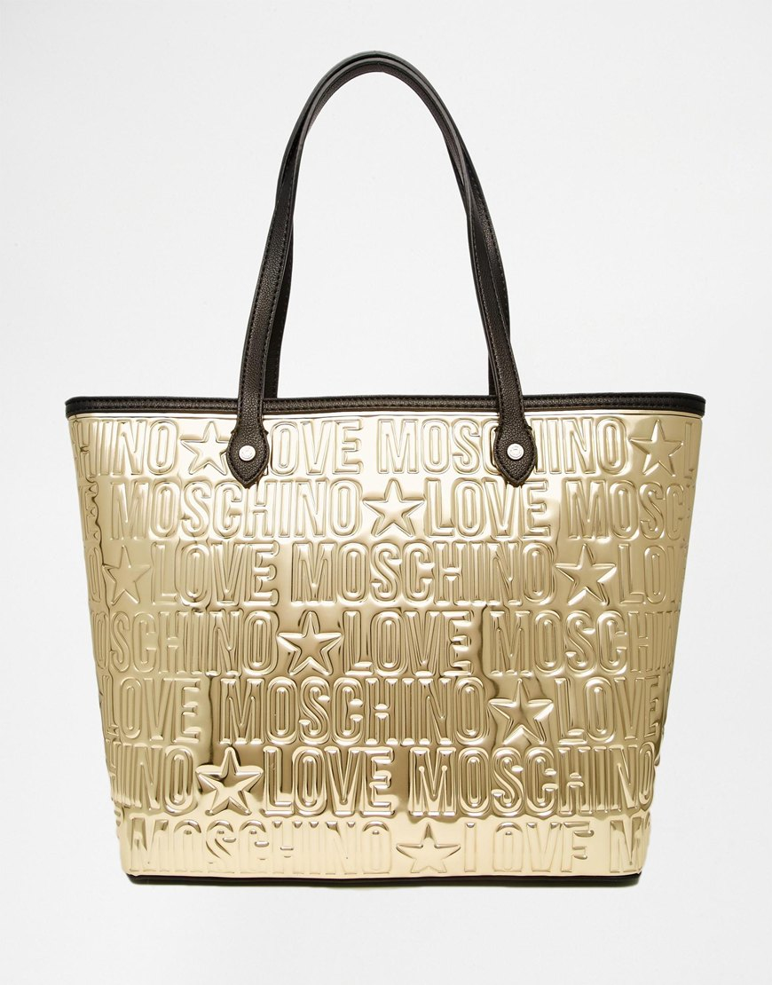 love moschino embossed metallic gold shopper bag in metallic lyst. Black Bedroom Furniture Sets. Home Design Ideas