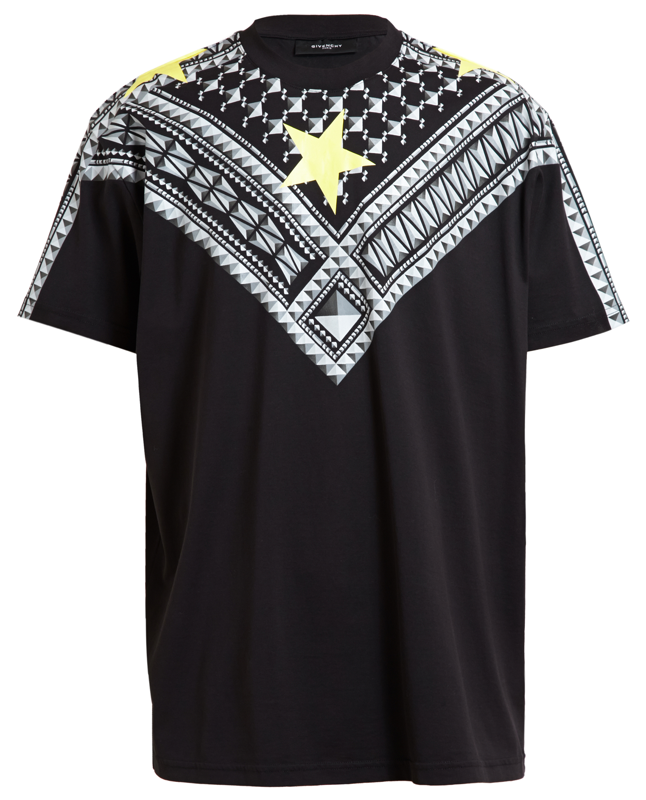 Givenchy yellow star tshirt in black for men lyst for Givenchy star t shirt