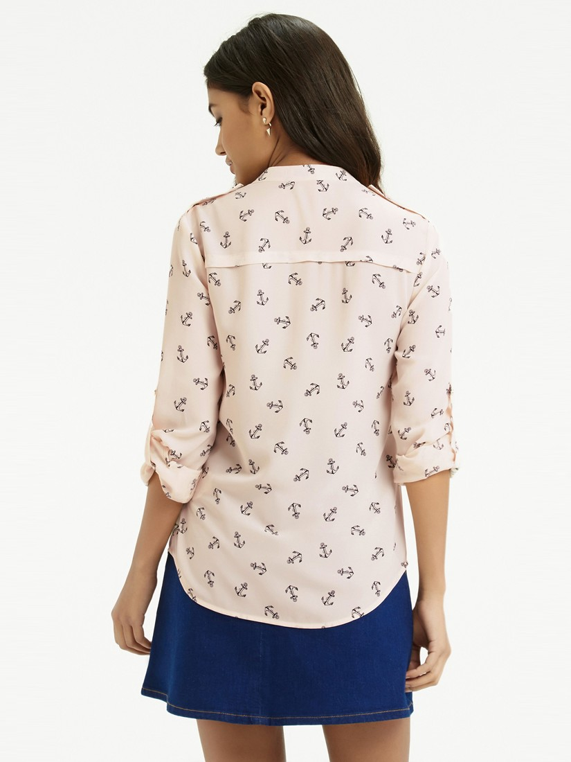 4dc8f7df9a44 Oasis Anchor Print Shirt in Natural - Lyst