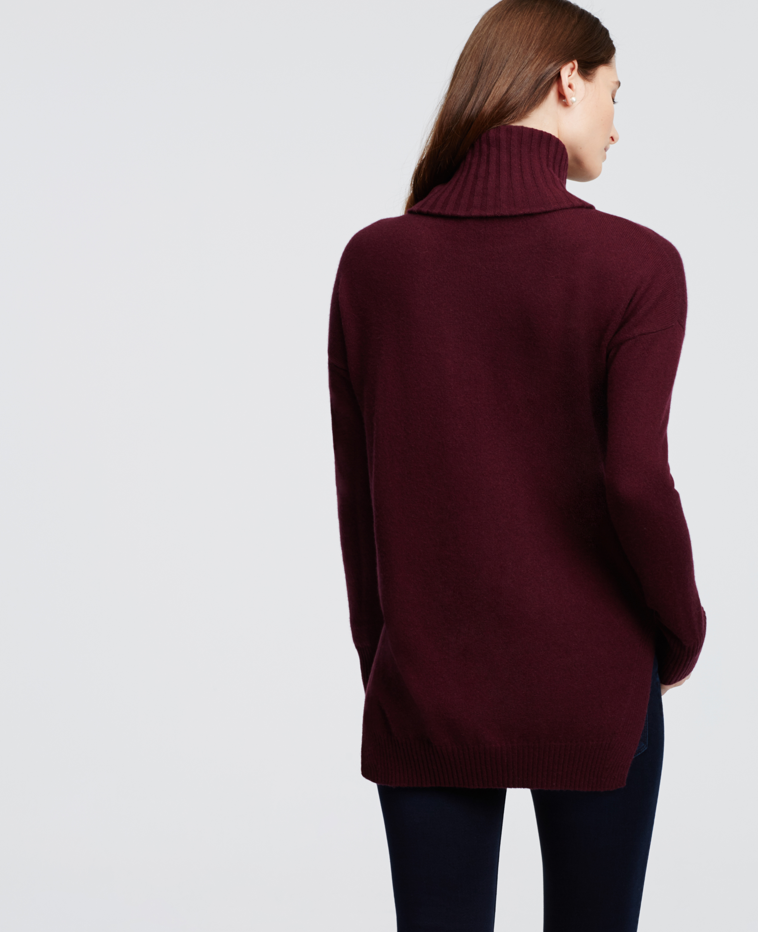 Ann taylor Cashmere Turtleneck Tunic Sweater in Purple | Lyst