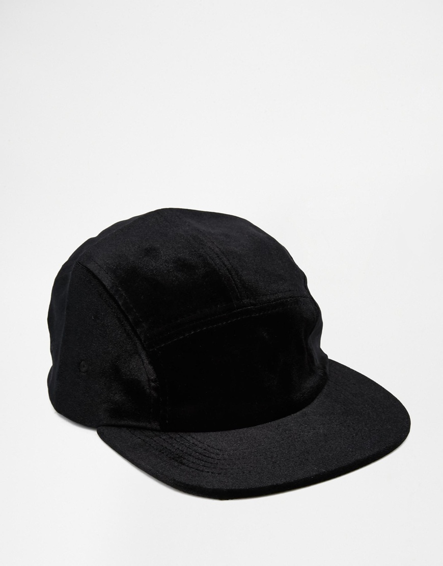 ce9cbfdbf694d ASOS 5 Panel Cap In Black Velvet in Black for Men - Lyst