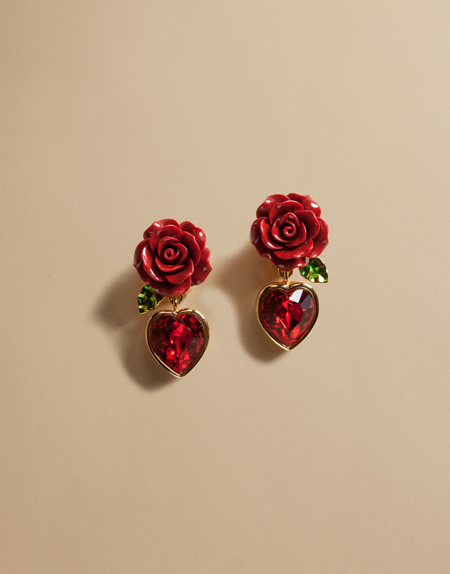 Lyst Dolce Amp Gabbana Earrings With Crystal Heart In Red