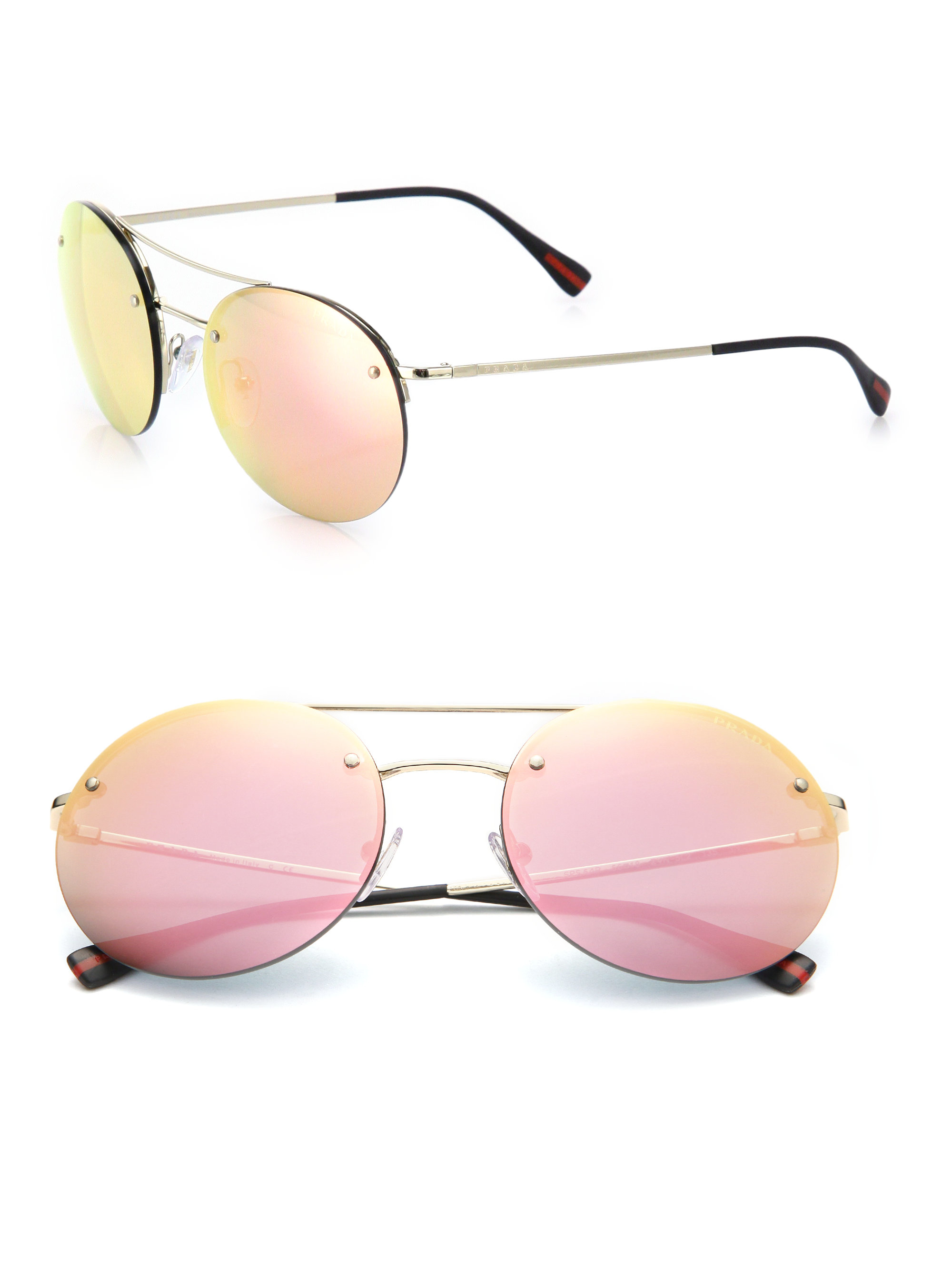d462af18b0 ... promo code for lyst prada 56mm round metal sunglasses in pink for men  a3b26 e0e69