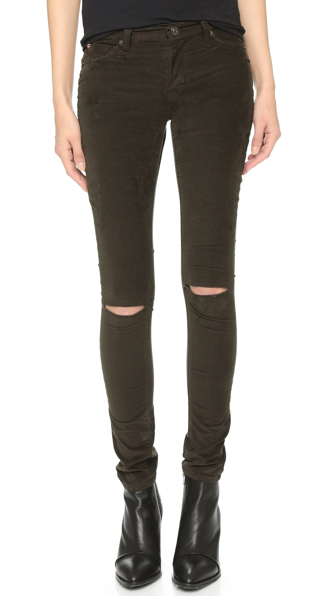 Hudson jeans Nico Super Skinny Corduroy Pants in Brown | Lyst