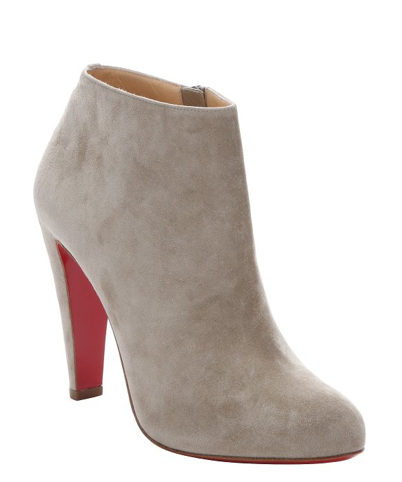 Christian louboutin Light Taupe Suede \u0026#39;bobsleigh\u0026#39; Side-zip Ankle ...
