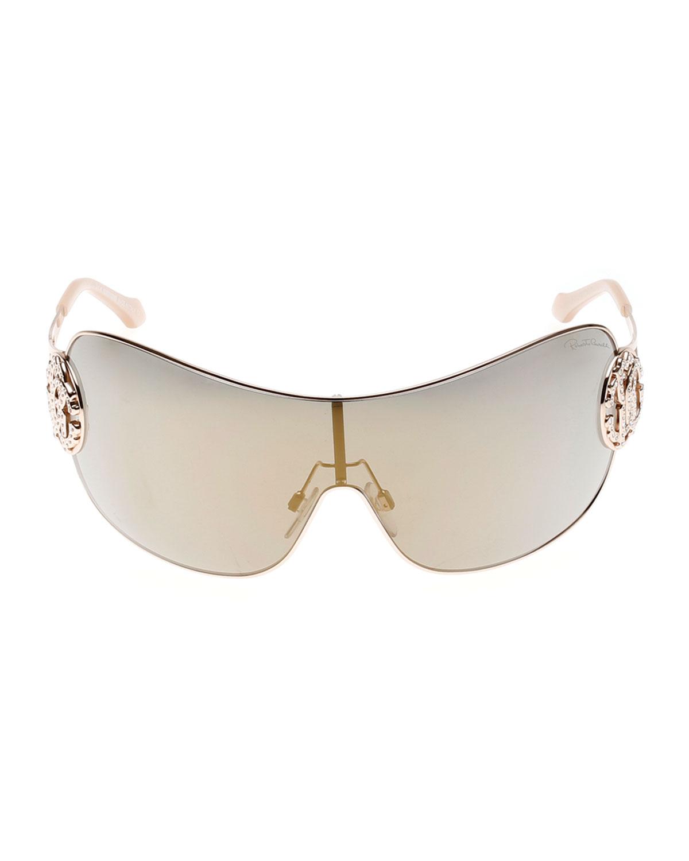 a2e9f9785f8 Lyst - Roberto Cavalli Mirrored Shield Sunglasses With Crystal ...