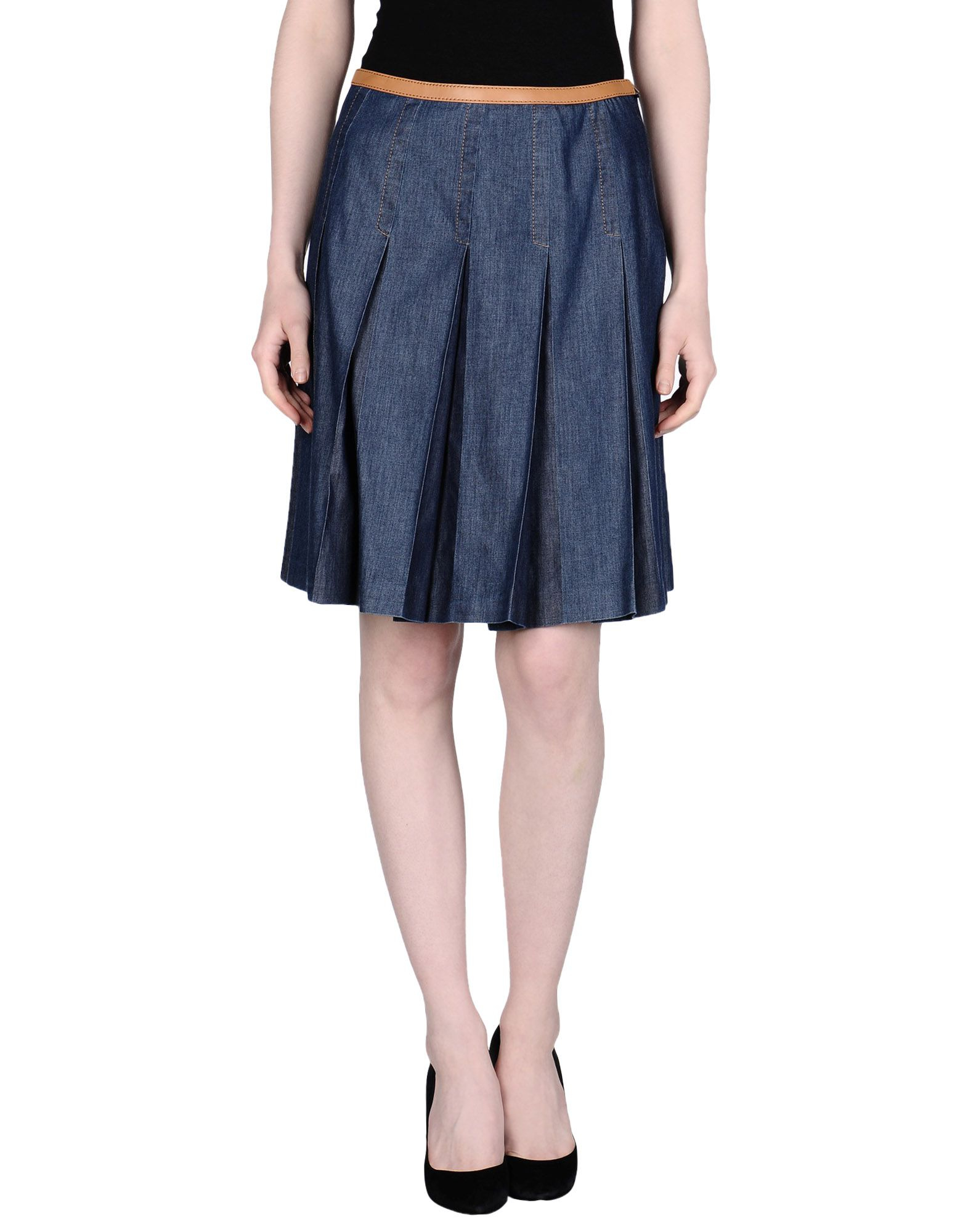 prada denim skirt in blue lyst