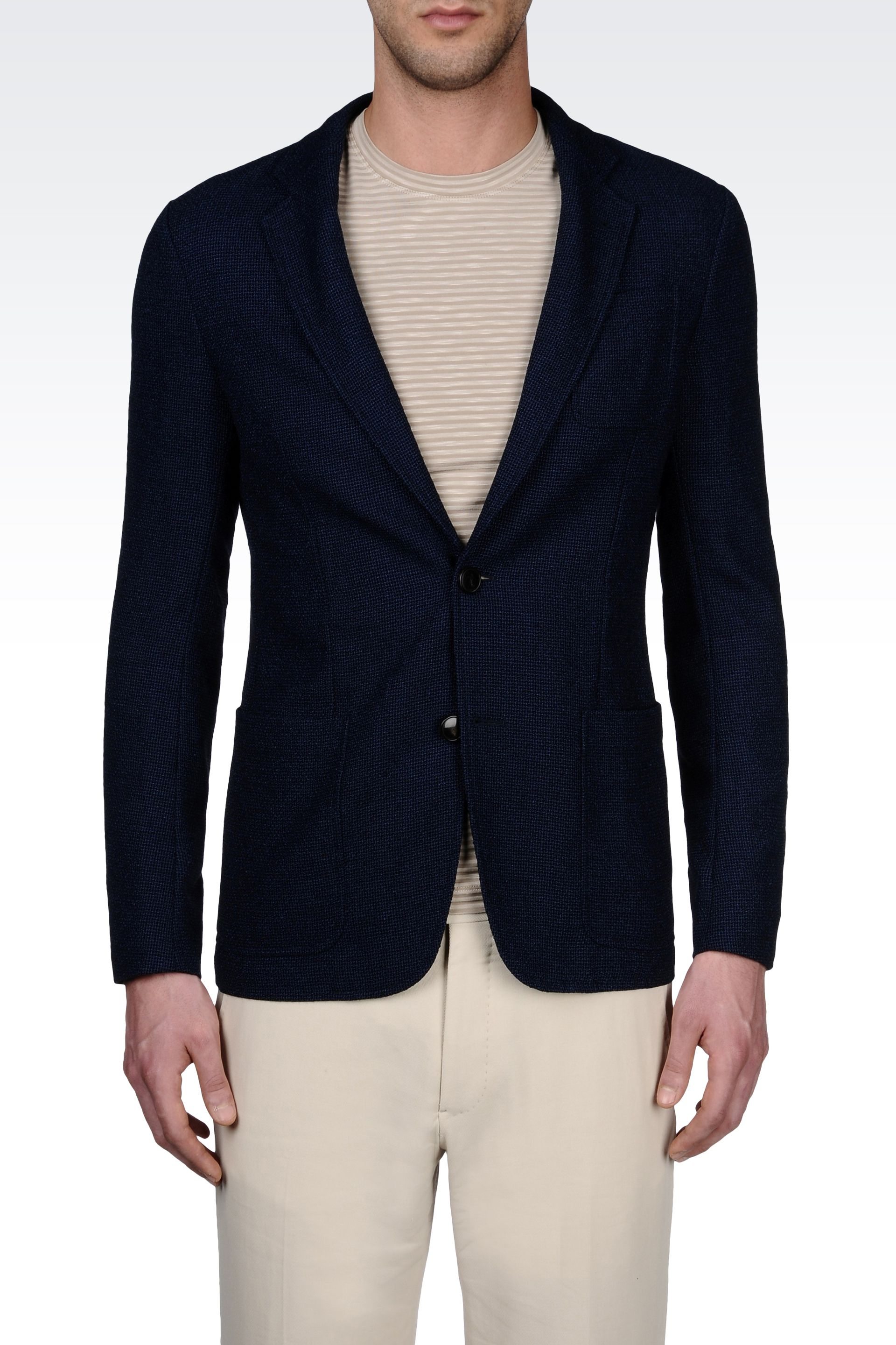 Lyst Armani Singlebreasted Jersey Jacket With Breast Pocket In Blue