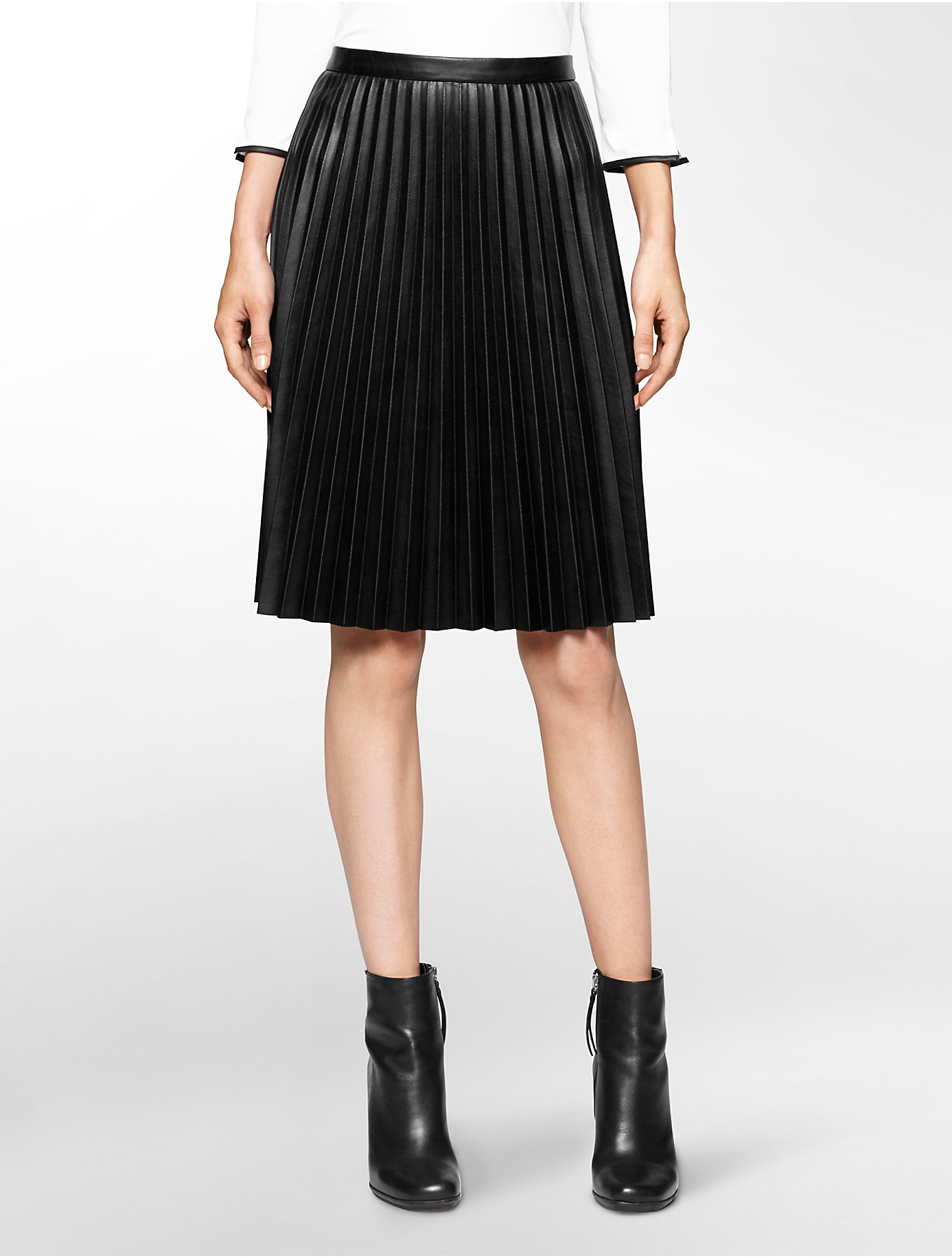 calvin klein white label pleated faux leather skirt in