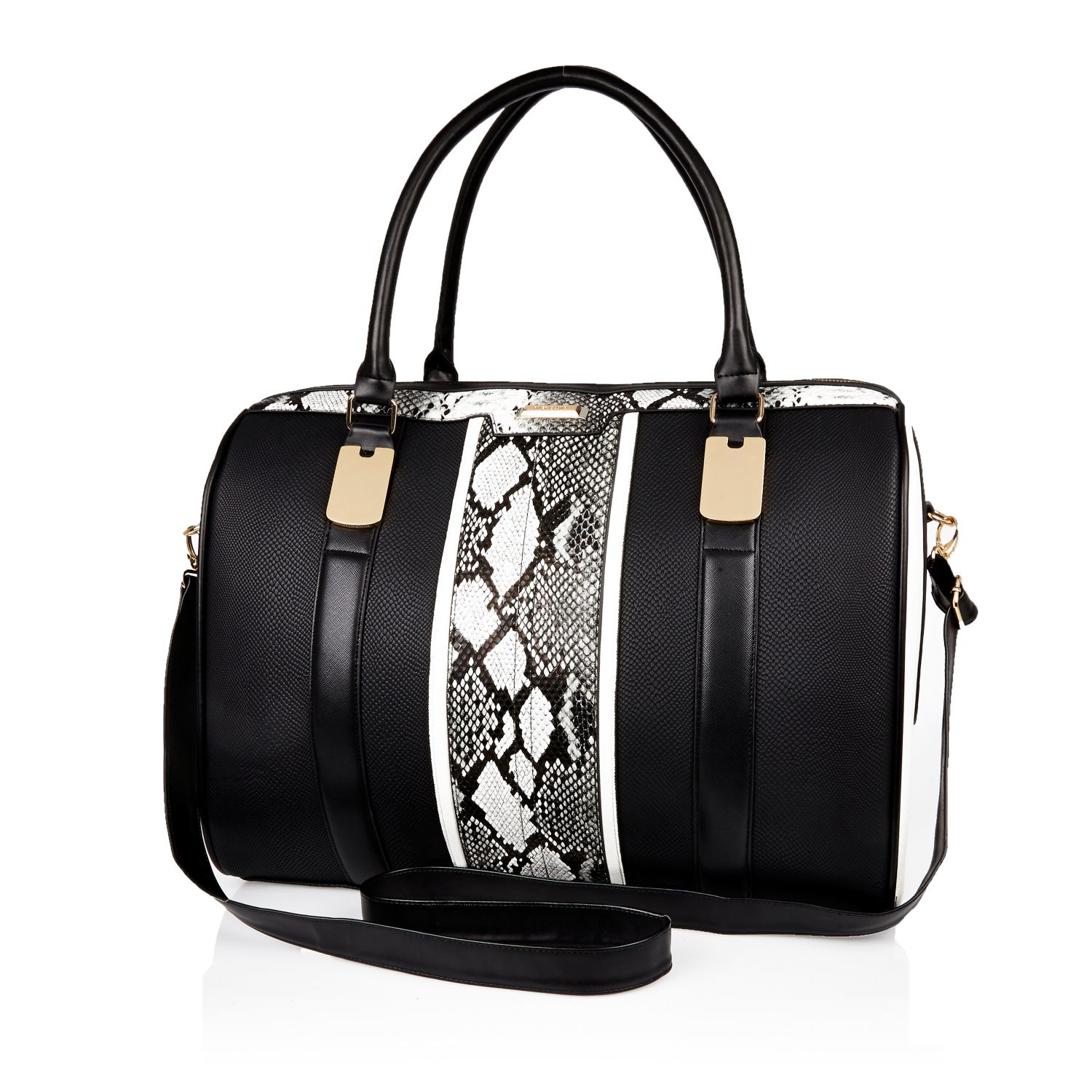 River island Black Snake Print Weekend Bag Black Snake Print ...