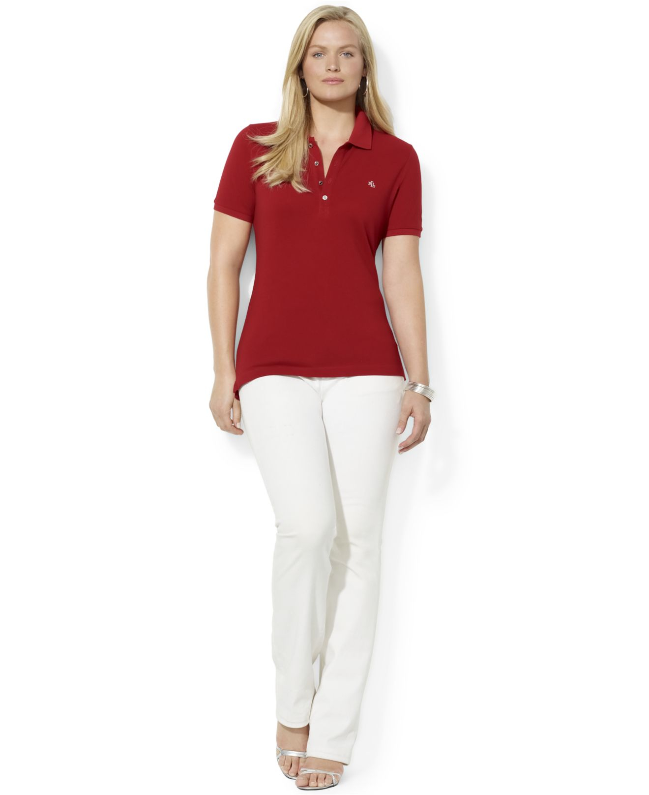 Lyst Lauren By Ralph Lauren Plus Size Polo Shirt In Red