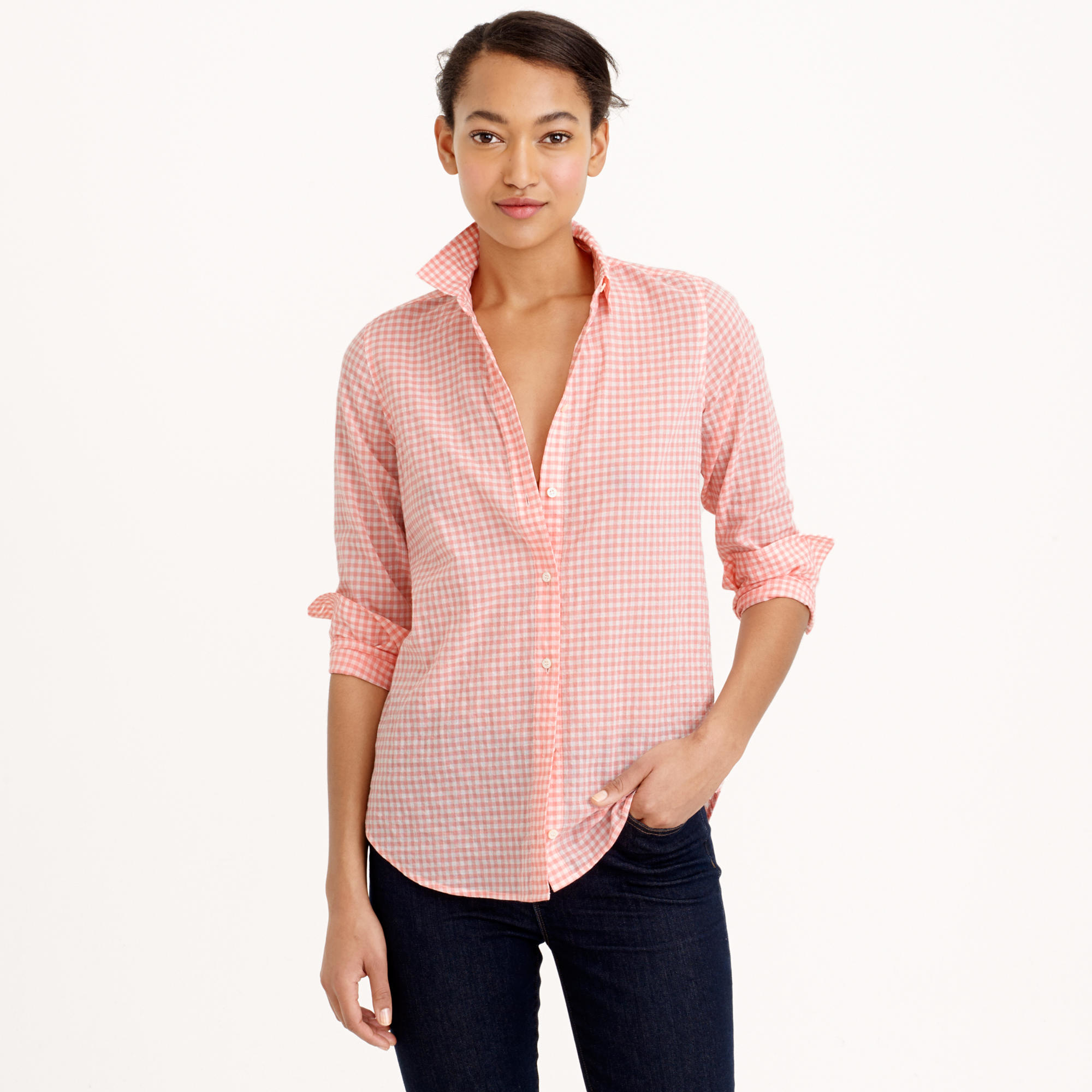 Boy shirt in crinkle gingham in pink lyst for Pink gingham shirt ladies