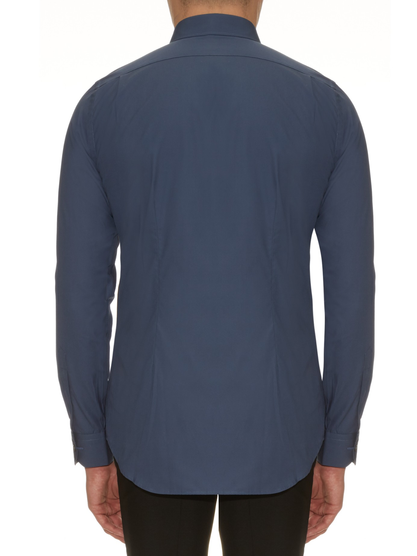 Paul Smith Soho Button Cuff Cotton Shirt In Blue For Men