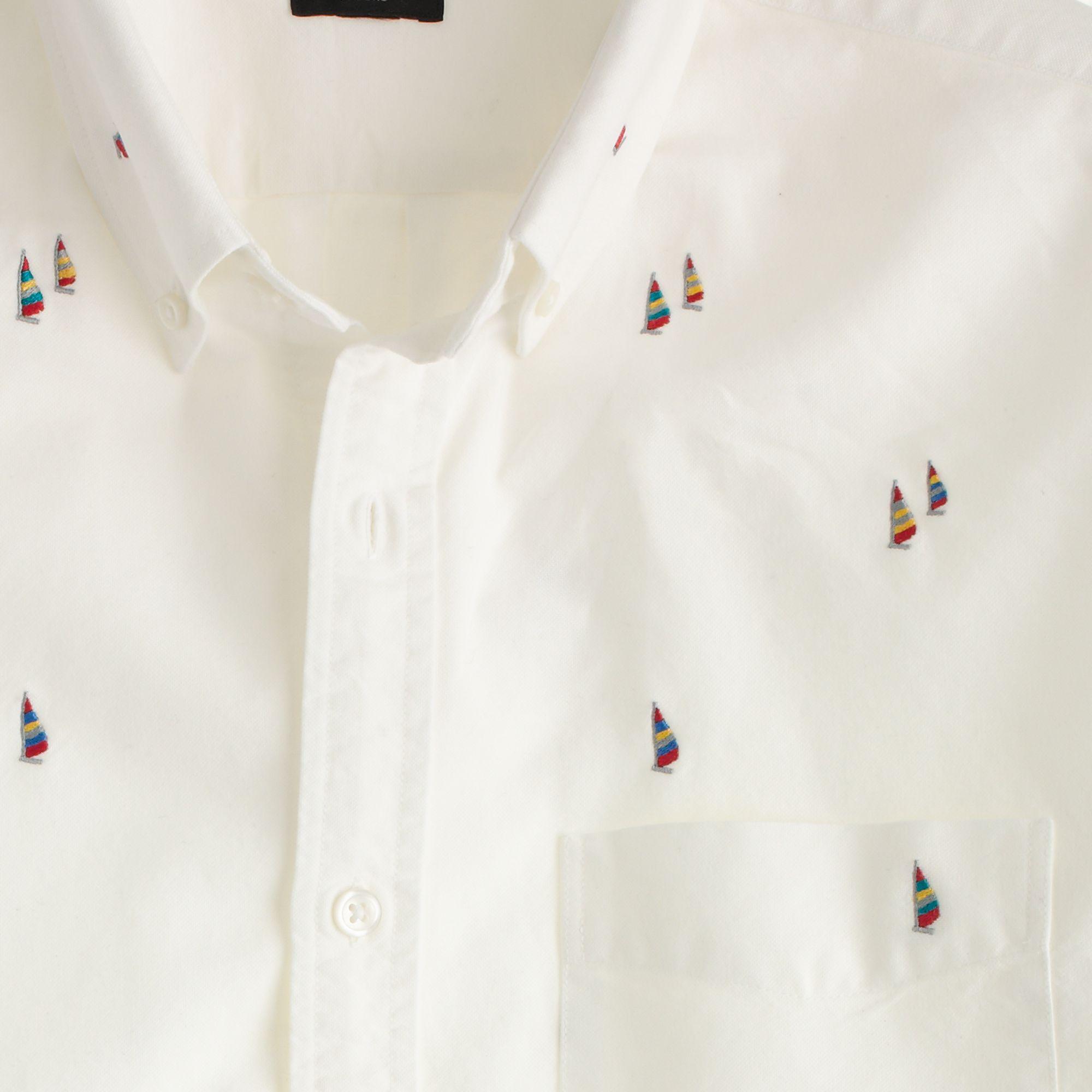 Men Clothing Slim-Fit Button-Down Collar Striped Cotton Oxford Shirt -J.