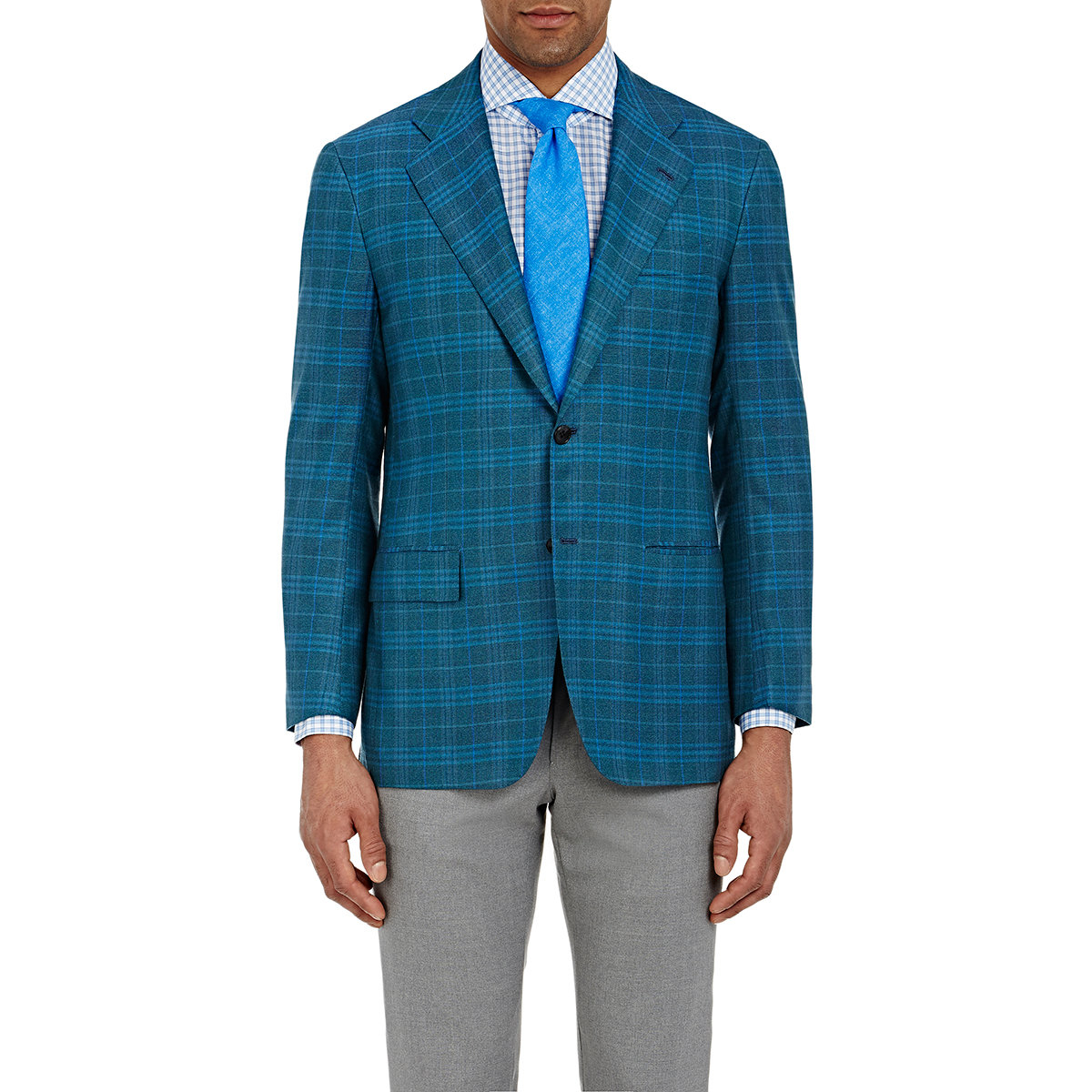 Kiton Men's Pique Two-button Jacket in Blue for Men