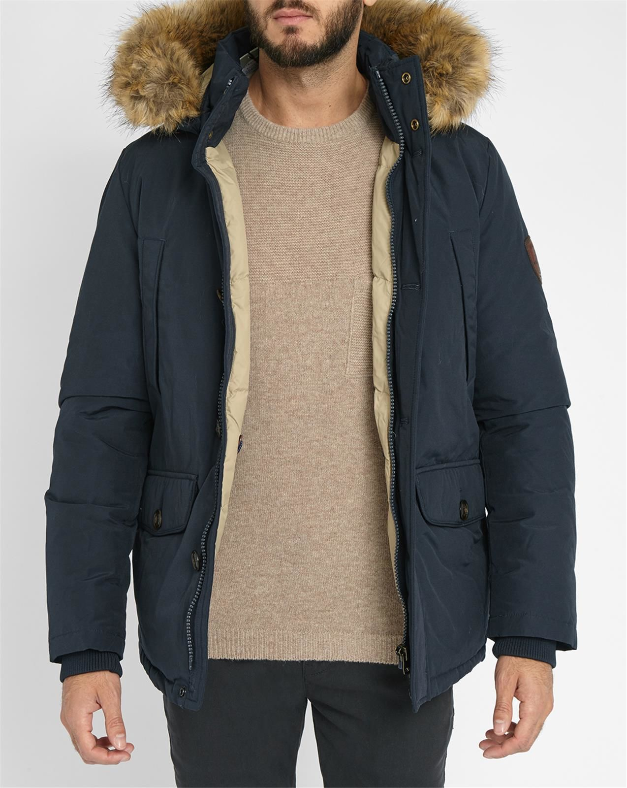tommy hilfiger blue houston parka with removable fur in blue for men. Black Bedroom Furniture Sets. Home Design Ideas