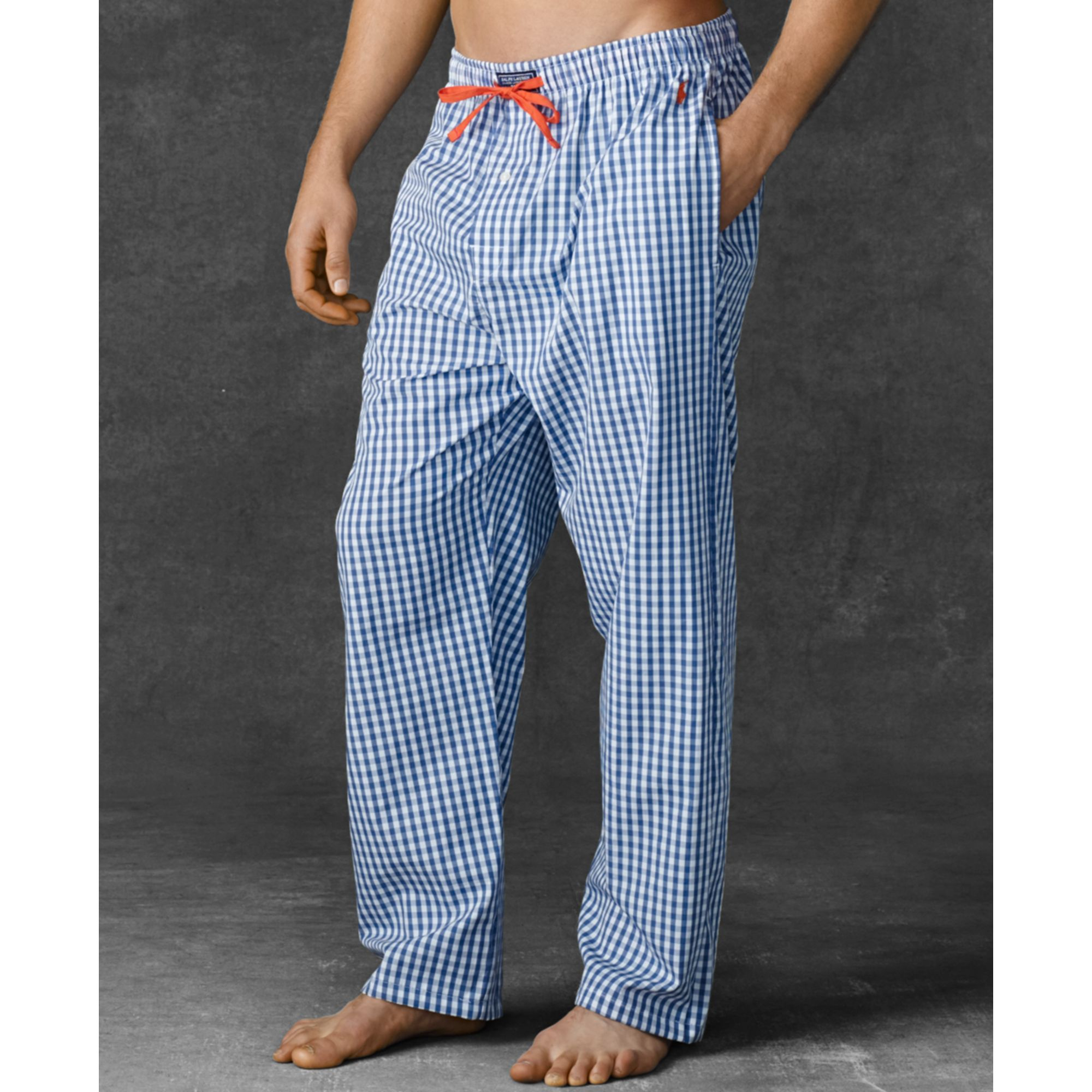 03566dd9d837 ... good lyst ralph lauren polo mens gingham woven pajama pants in blue for  men 32df4 e1dd7