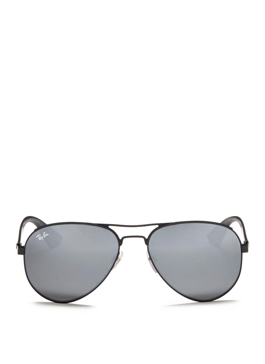 6af8263ef4 ... best lyst ray ban titanium frame plastic temple aviator sunglasses in  black 40fe6 0dbf6