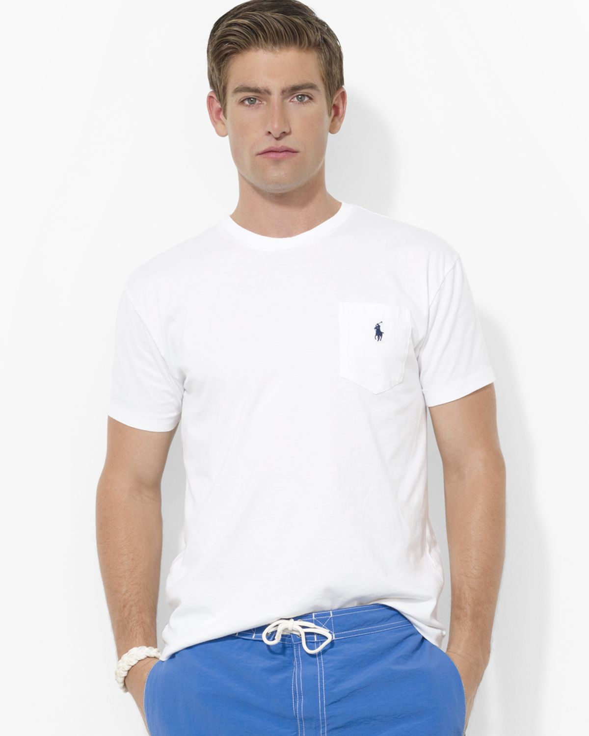 ralph lauren polo classic fit short sleeved cotton pocket tee in white for men lyst. Black Bedroom Furniture Sets. Home Design Ideas