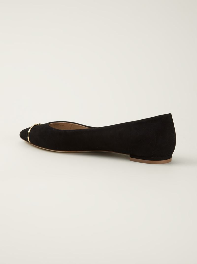 tory burch pointed toe ballerinas in black lyst. Black Bedroom Furniture Sets. Home Design Ideas