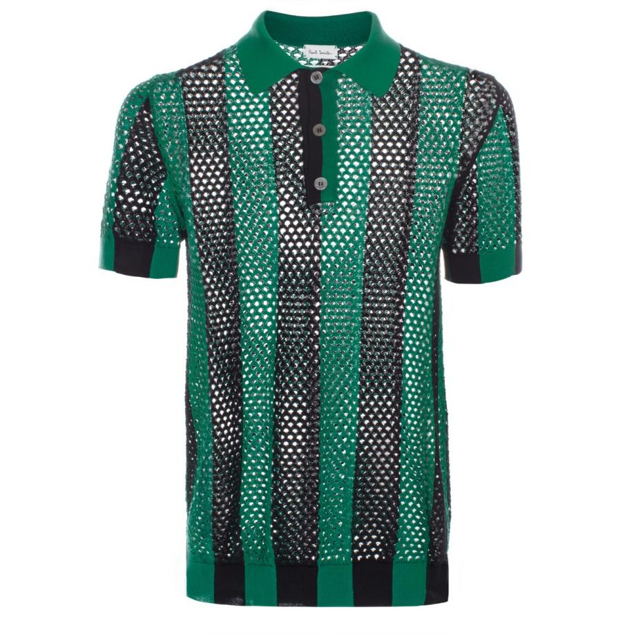 Paul Smith Men 39 S Green And Black Open Knit Polo Shirt In