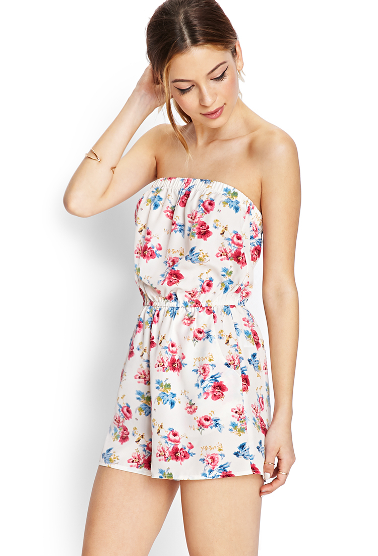f13d253dbb02 Lyst - Forever 21 Budding Floral Strapless Romper in Blue