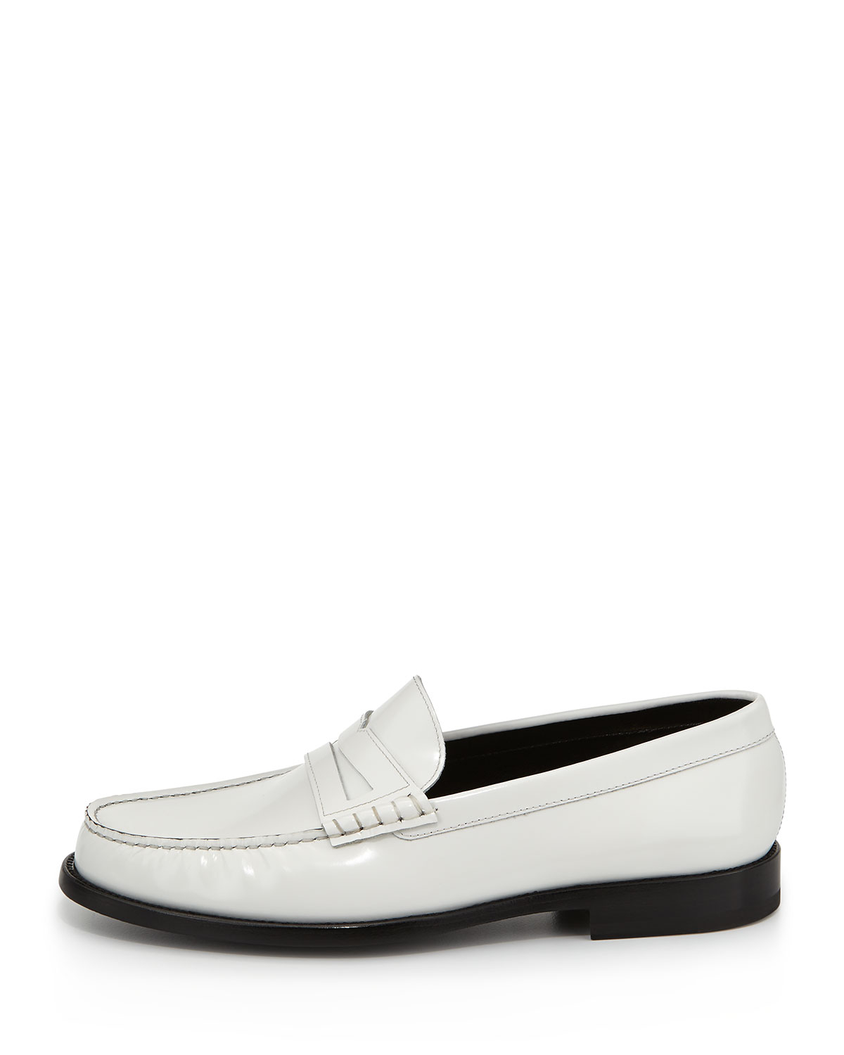Lyst - Saint laurent Classic Leather Penny Loafer White in ...