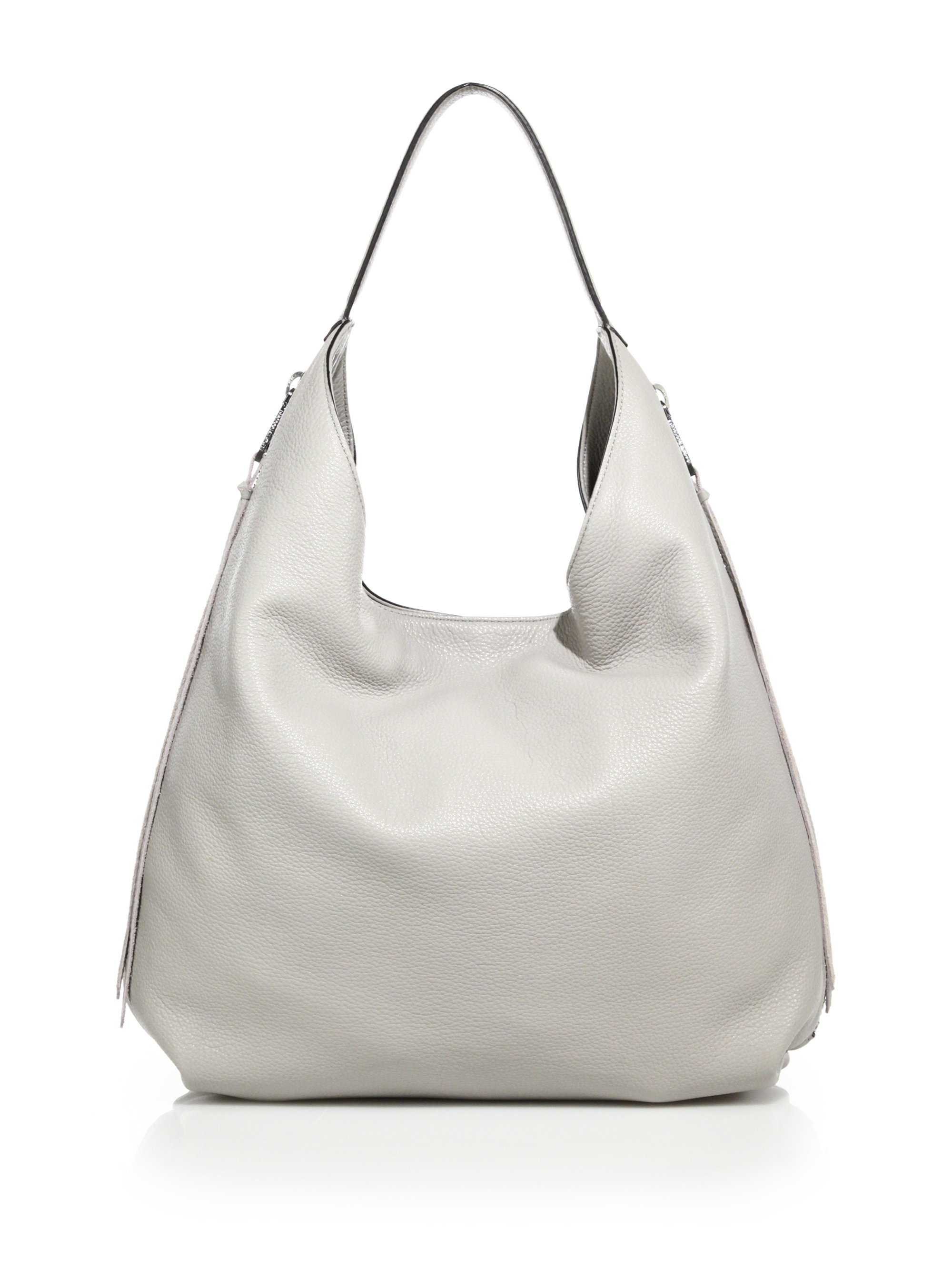 362794782 Rebecca Minkoff Bryn Double-zip Leather Hobo Bag in White - Lyst