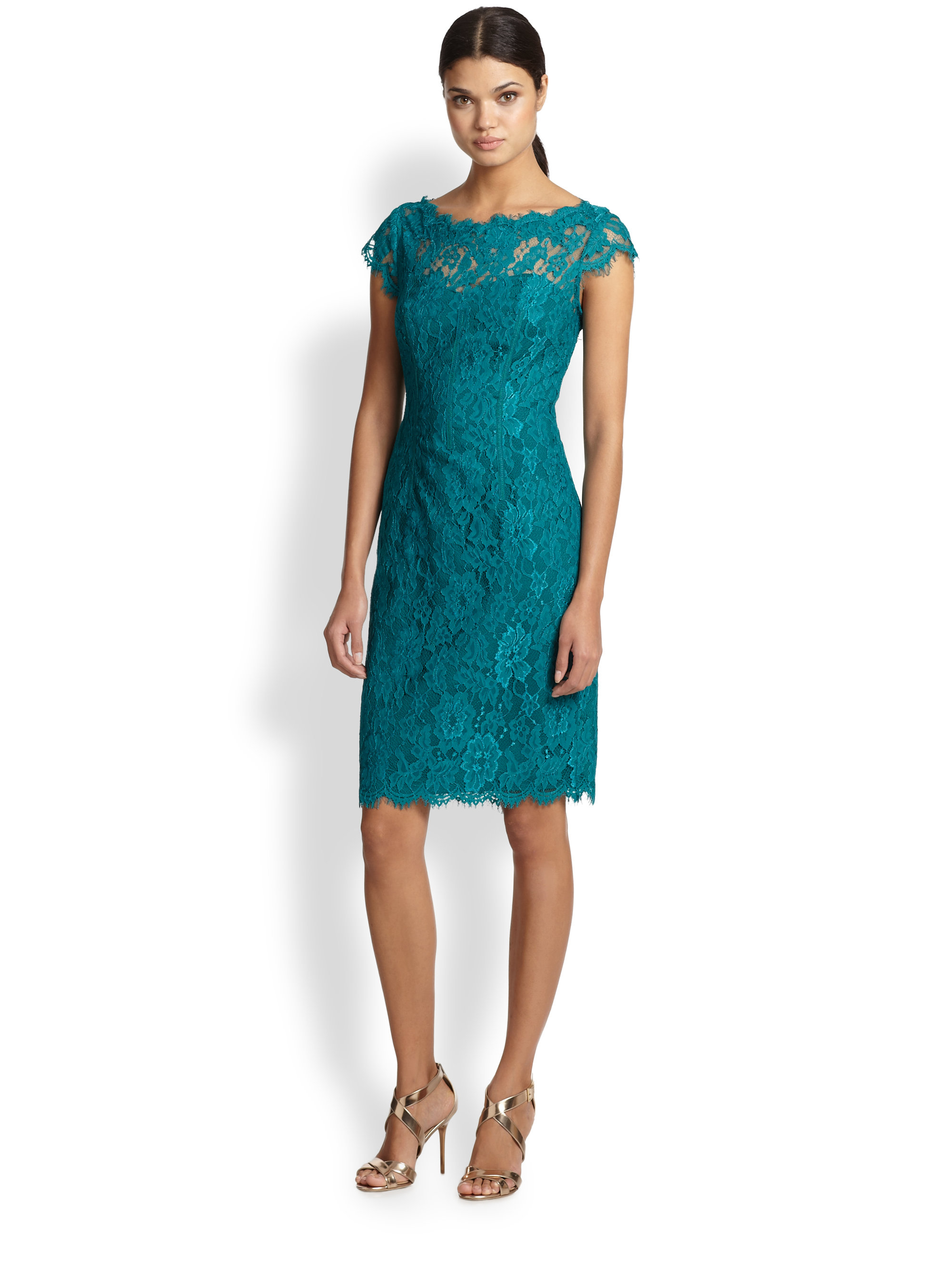 Lyst Ml Monique Lhuillier Lace Sheath Cocktail Dress In