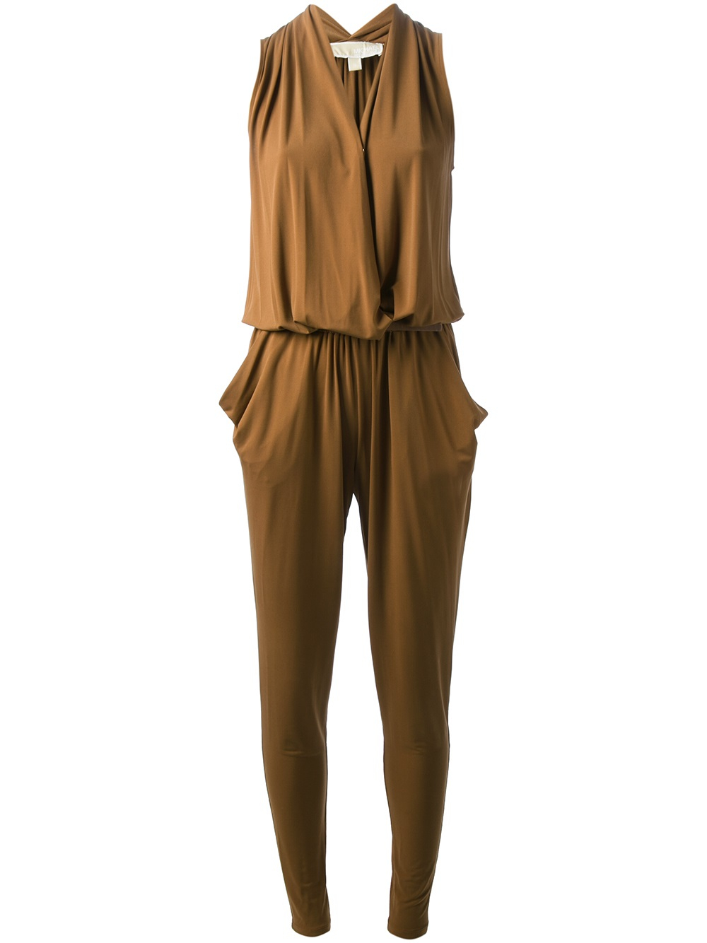 michael michael kors crossover loose fit jumpsuit in brown lyst. Black Bedroom Furniture Sets. Home Design Ideas