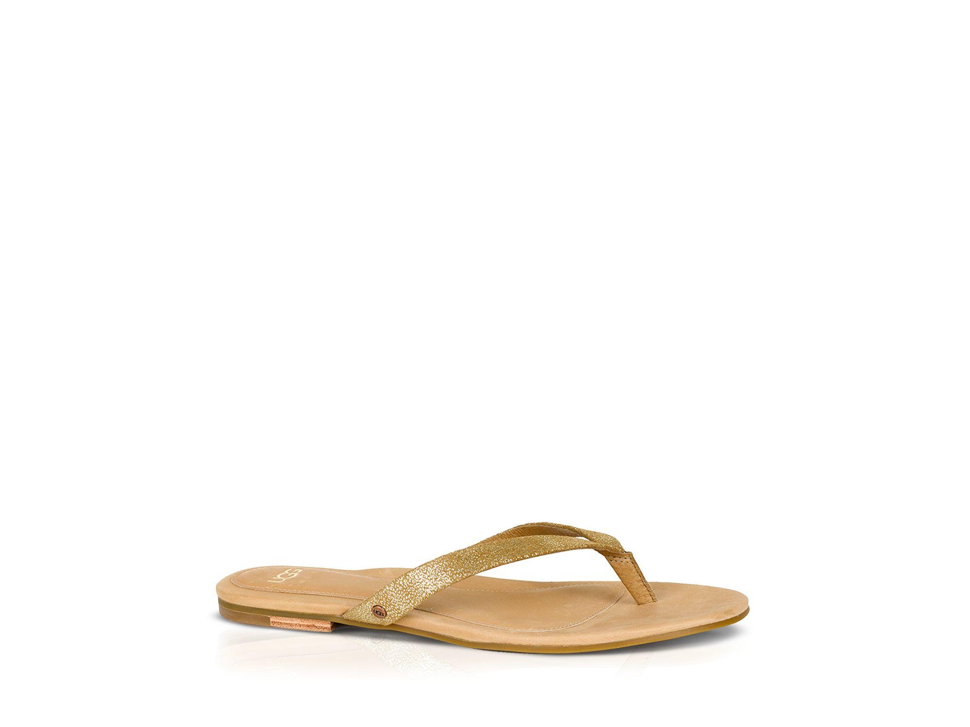 942961e03d712c Lyst - UGG Ugg® Australia Flat Thong Sandals - Allaria Ii Metallic ...